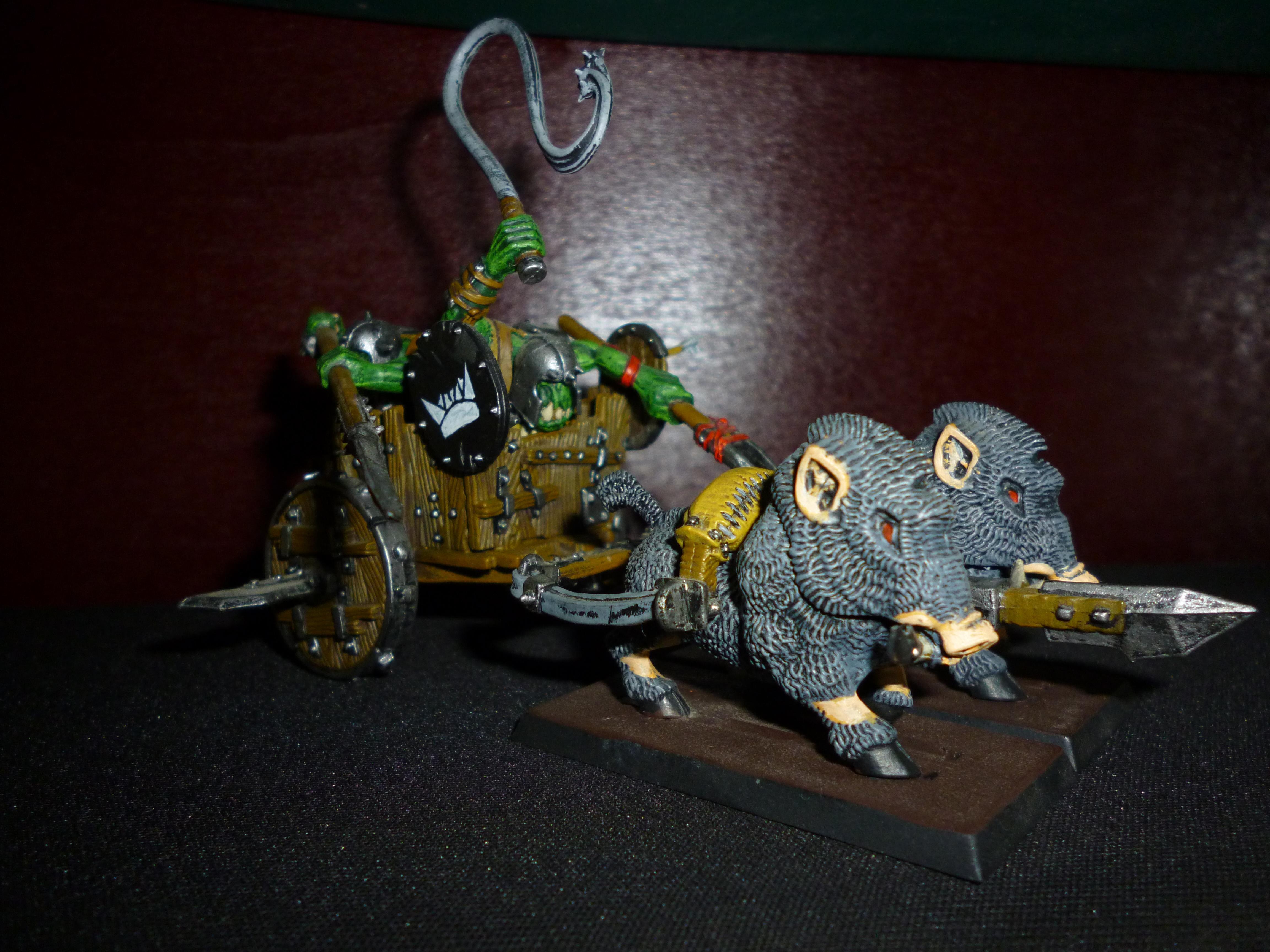Chariot, Goblins, Greenskins, Grobi, Orc Boar Chariot, Orcs