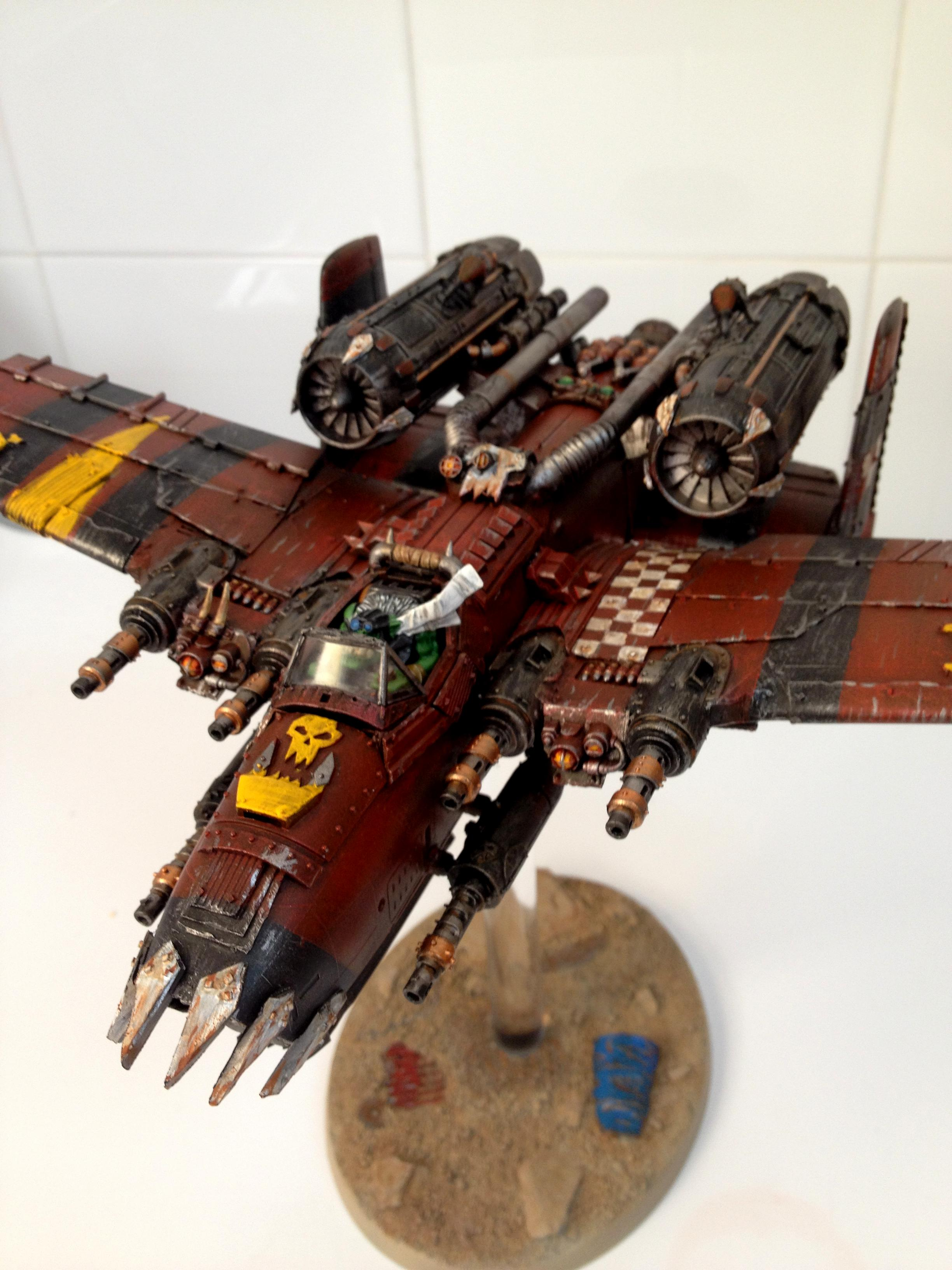 Dakka Dakka, Dakka Jet, Flyer, Jet, Ork A10, Ork Dakka Jet, Orks, Red Paintjob