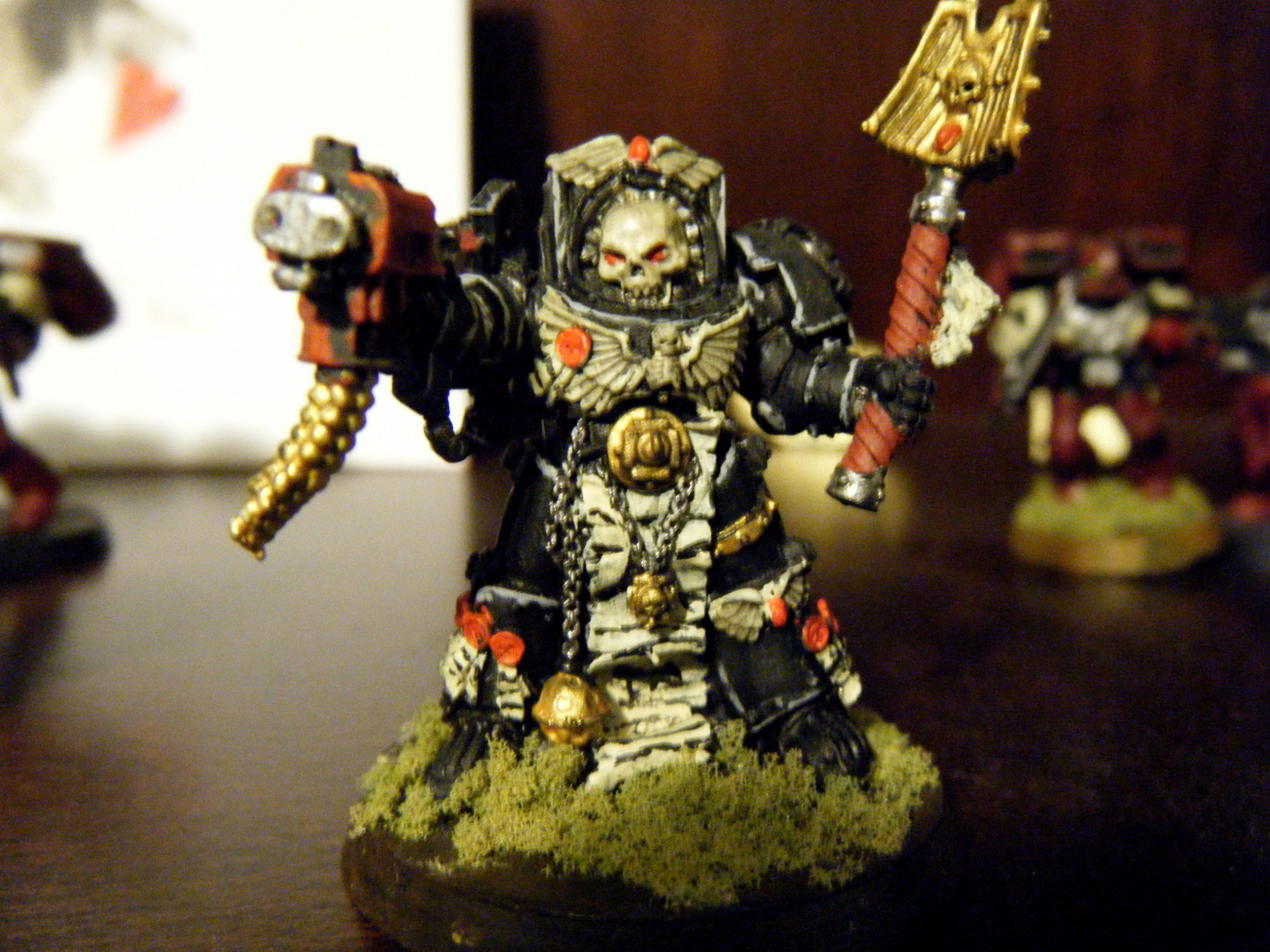 Blood Ravens, Bone, Chaplain, Crozius, Headquarters, Highlighting, Space Marines, Storm Bolter, Terminator Armor, W40k, Warhammer 40,000
