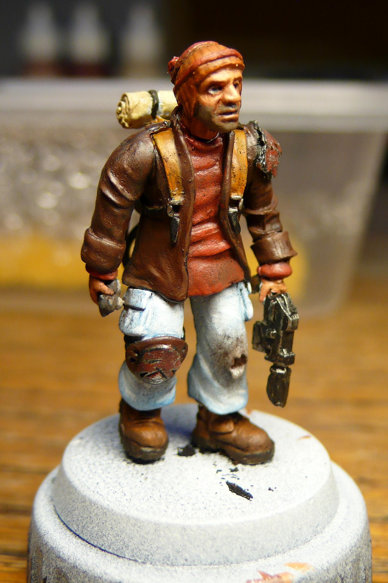 Ash Waste, Civilian, Conversion, Coop, Hat, Necromunda, Pig Iron, Victoria Miniatures, Wooly
