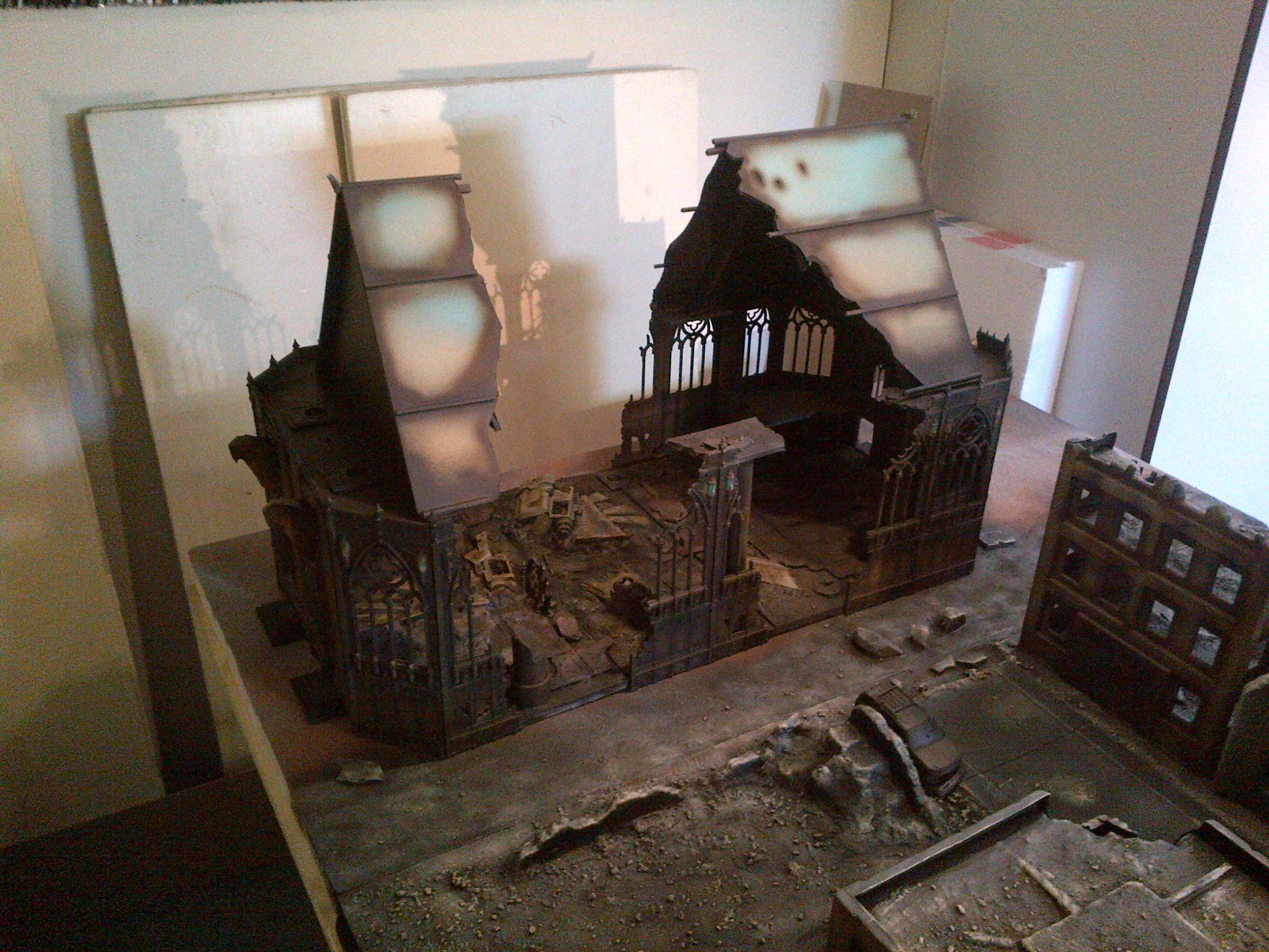 Board, Cathedral, Cities Of Death, City, Factory, Rubble, Ruin, Ruins, Terrain, Terrain Board, Urban