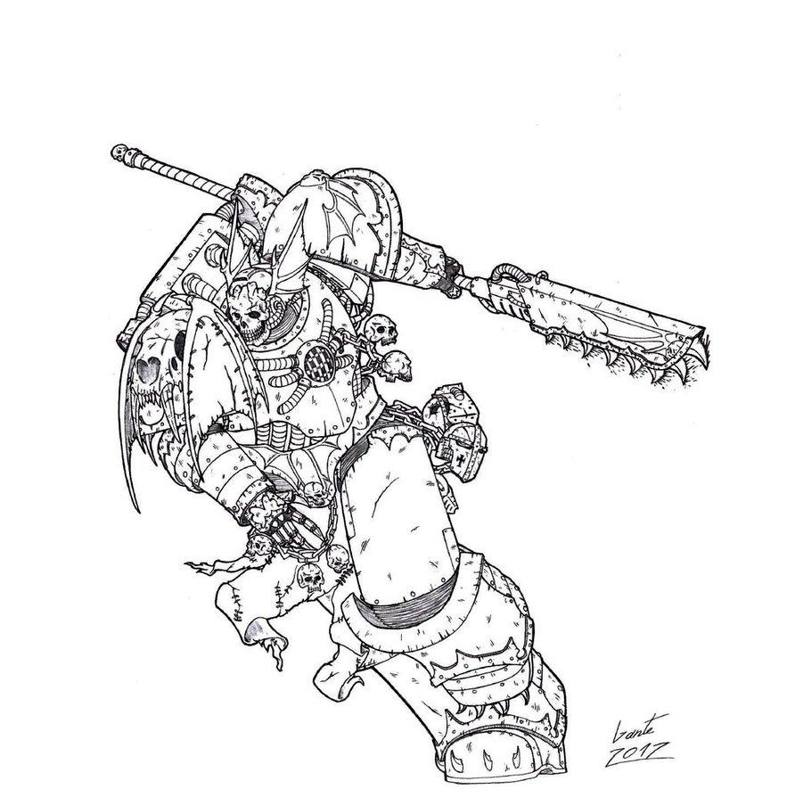 Chaos, Chaos Space Marines, Nightlords, Sketch, Warhammer 40,000