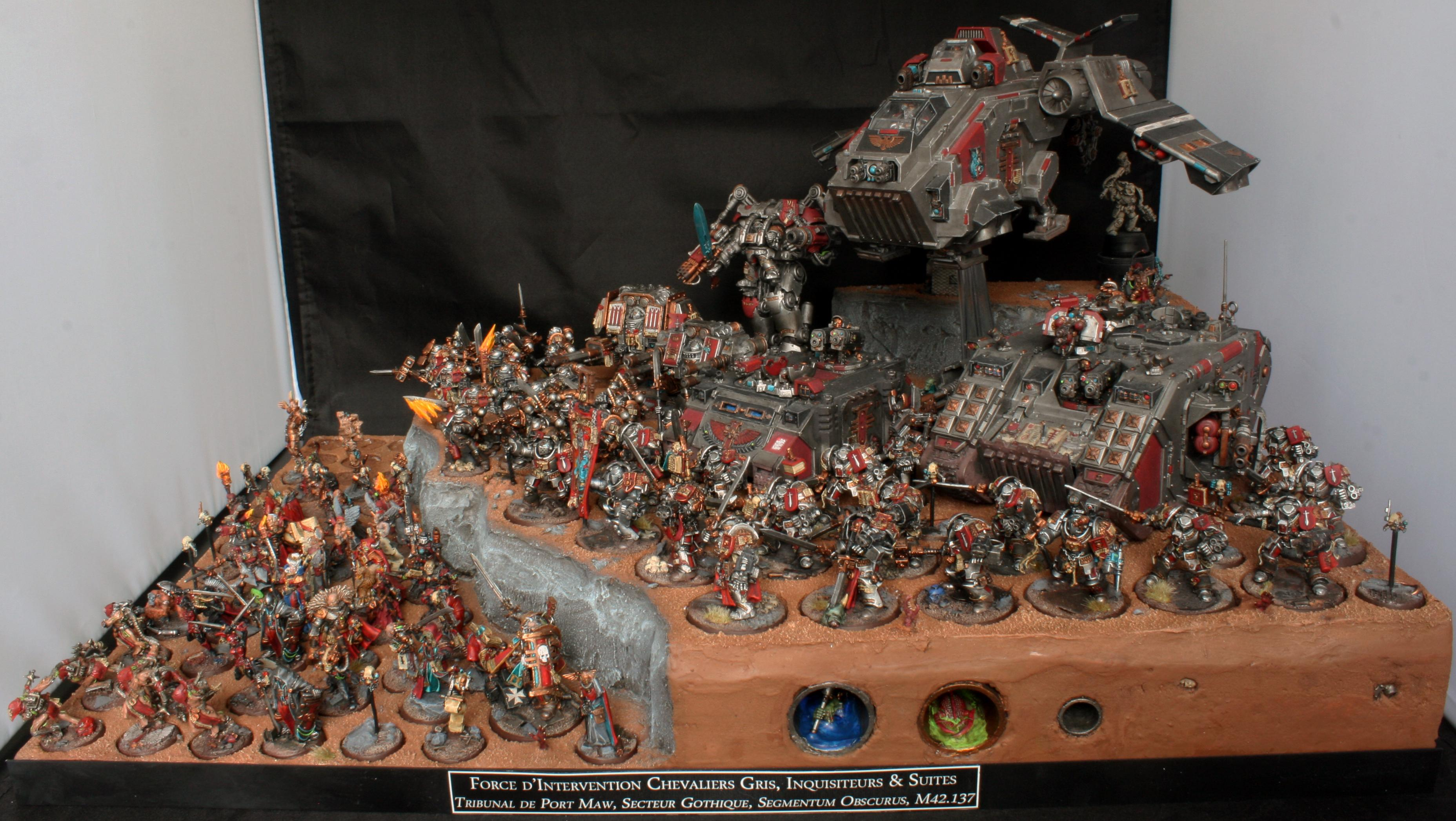 Arkaal, Display, Dreadknigh, Dreadnought, Forge, Grey, Hector, Henchmen, Inquisitor, Knights, Land, Librarian, Lok, Raider, Raven, Rex, Rhino, Solomon, Stern, Storm, Tray, World