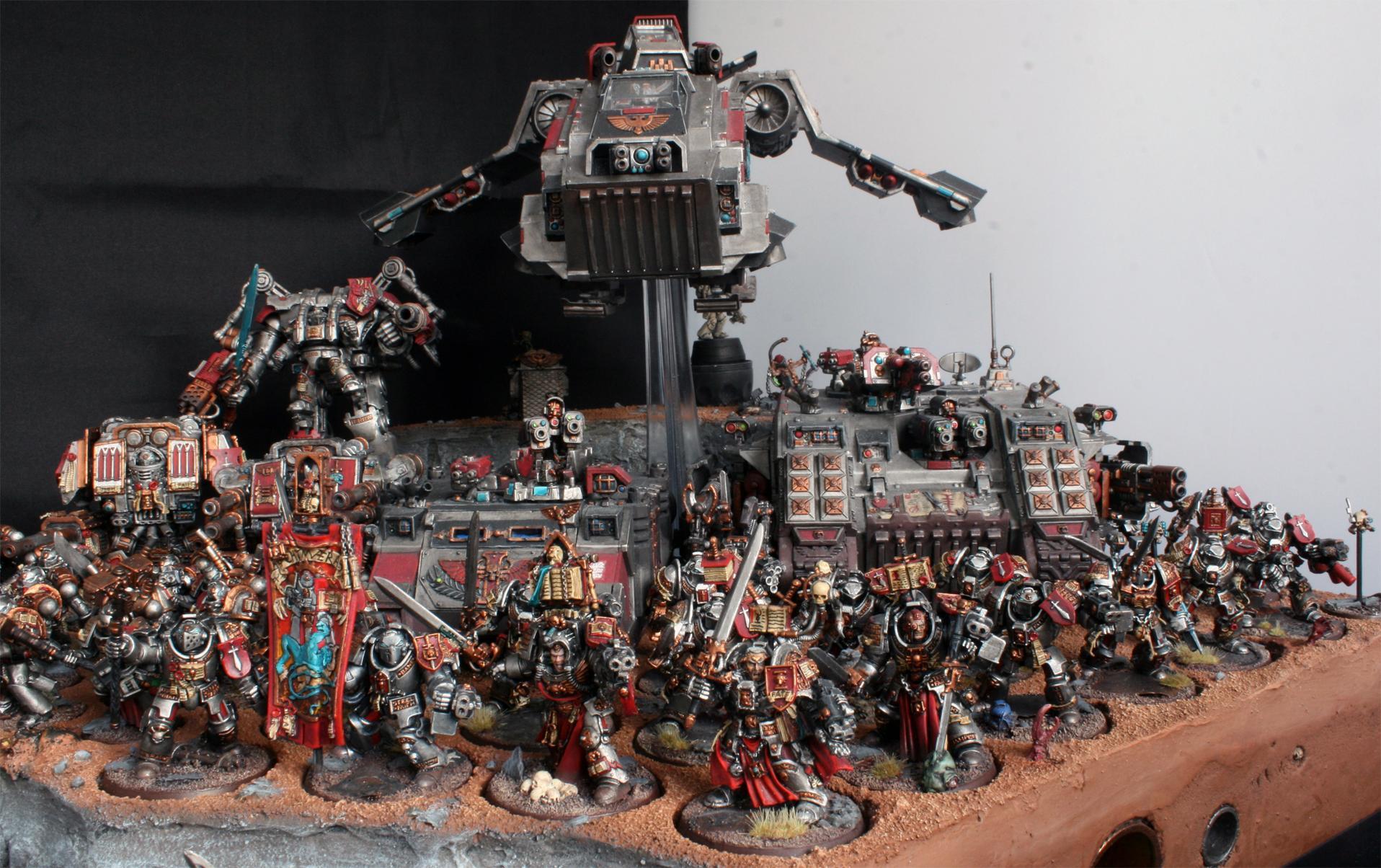 Arkaal, Display, Dreadknigh, Dreadnought, Forge, Grey, Hector, Henchmen, Inquisitor, Knights, Land, Librarian, Lok, Raider, Raven, Rex, Rhino, Solomon, Stern, Storm, Tray, World