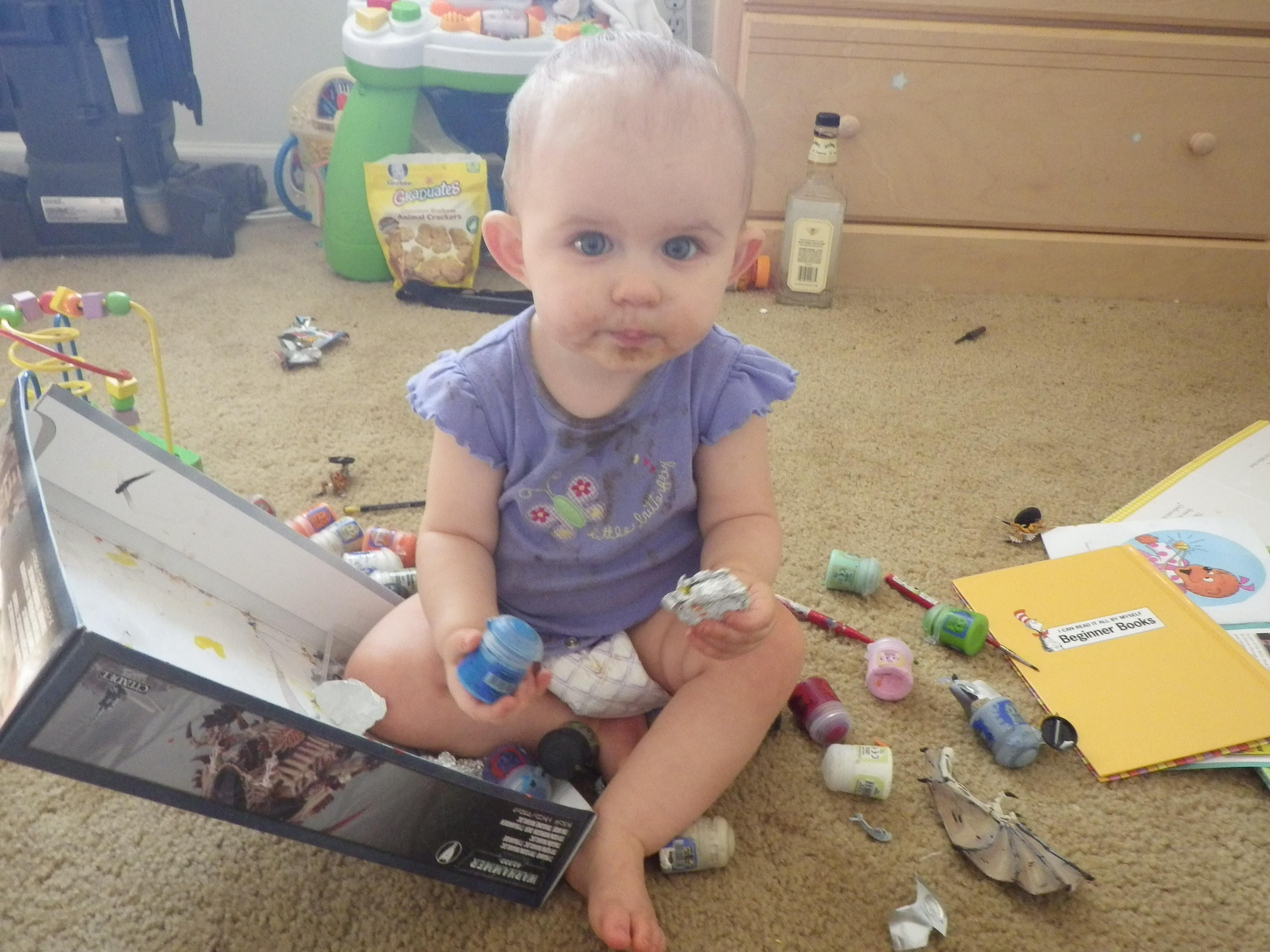 My daughter helped by removing every object from my paint box