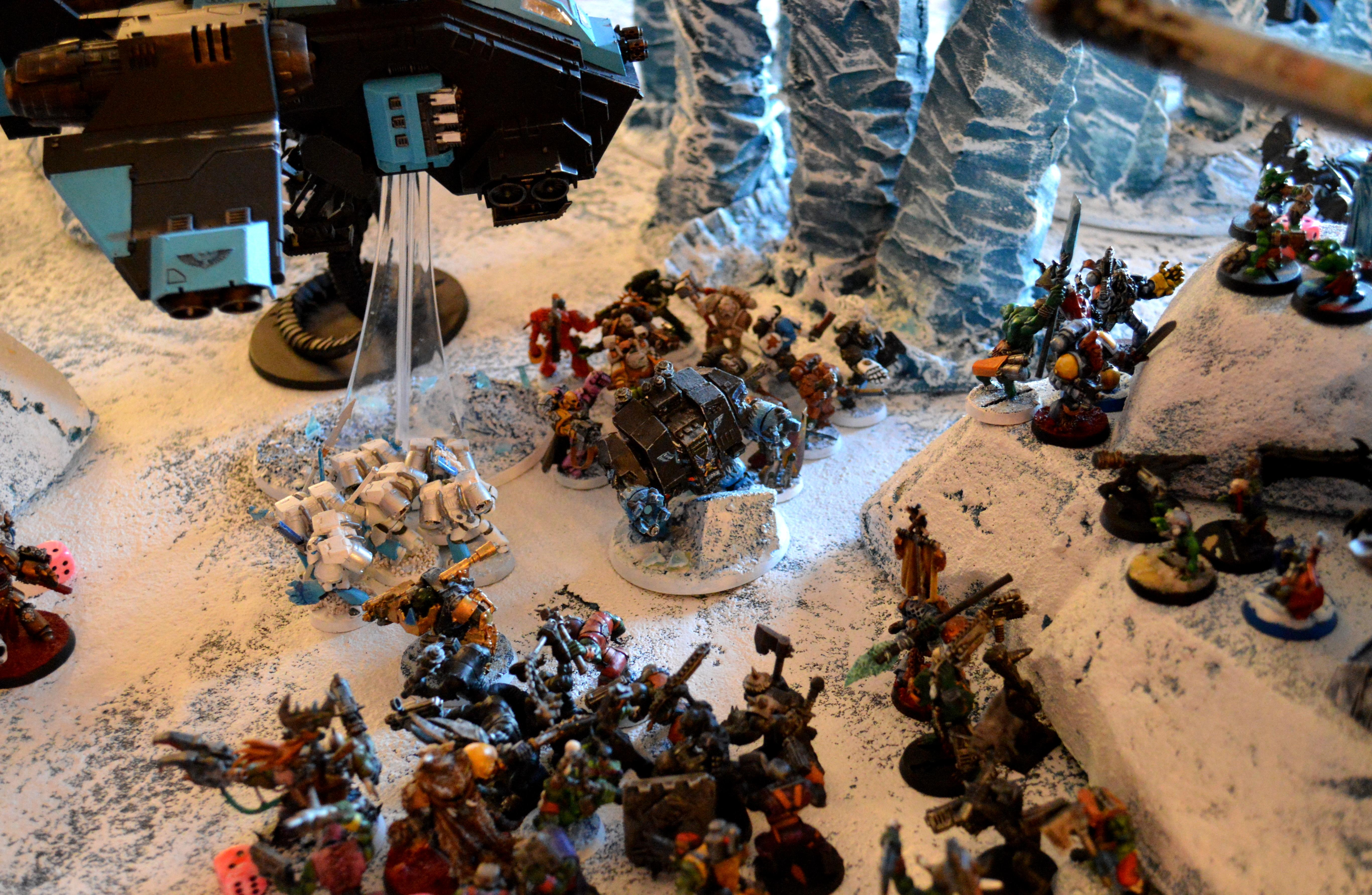 Apocalypse, Ice Angels, Ice Terrain, Orks, Space Marines, Space Wolves, Stompa, Tyranids, Warhammer 40,000