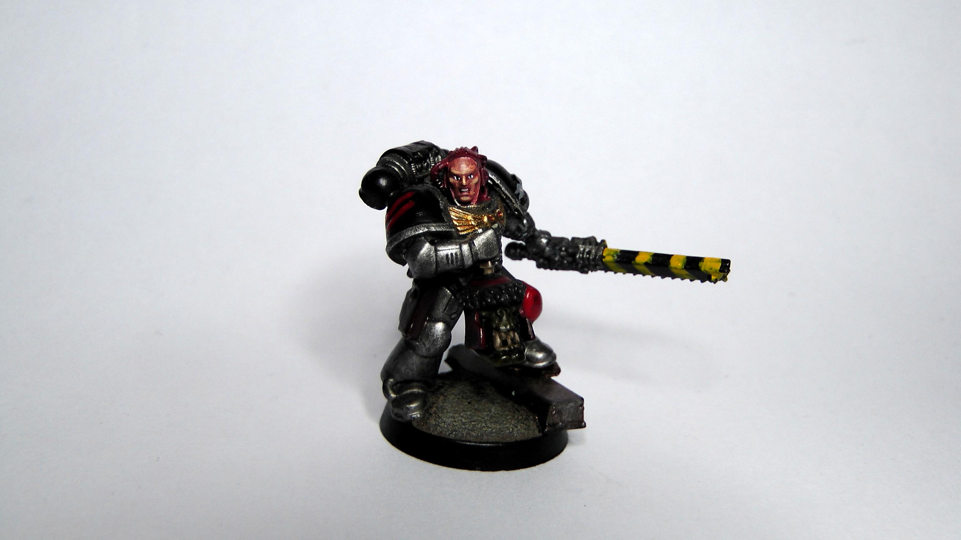 Chainsword, Face, Ork Head, Sergeant, Silver Skulls, Space Marines, Urban Base, Warhammer 40,000