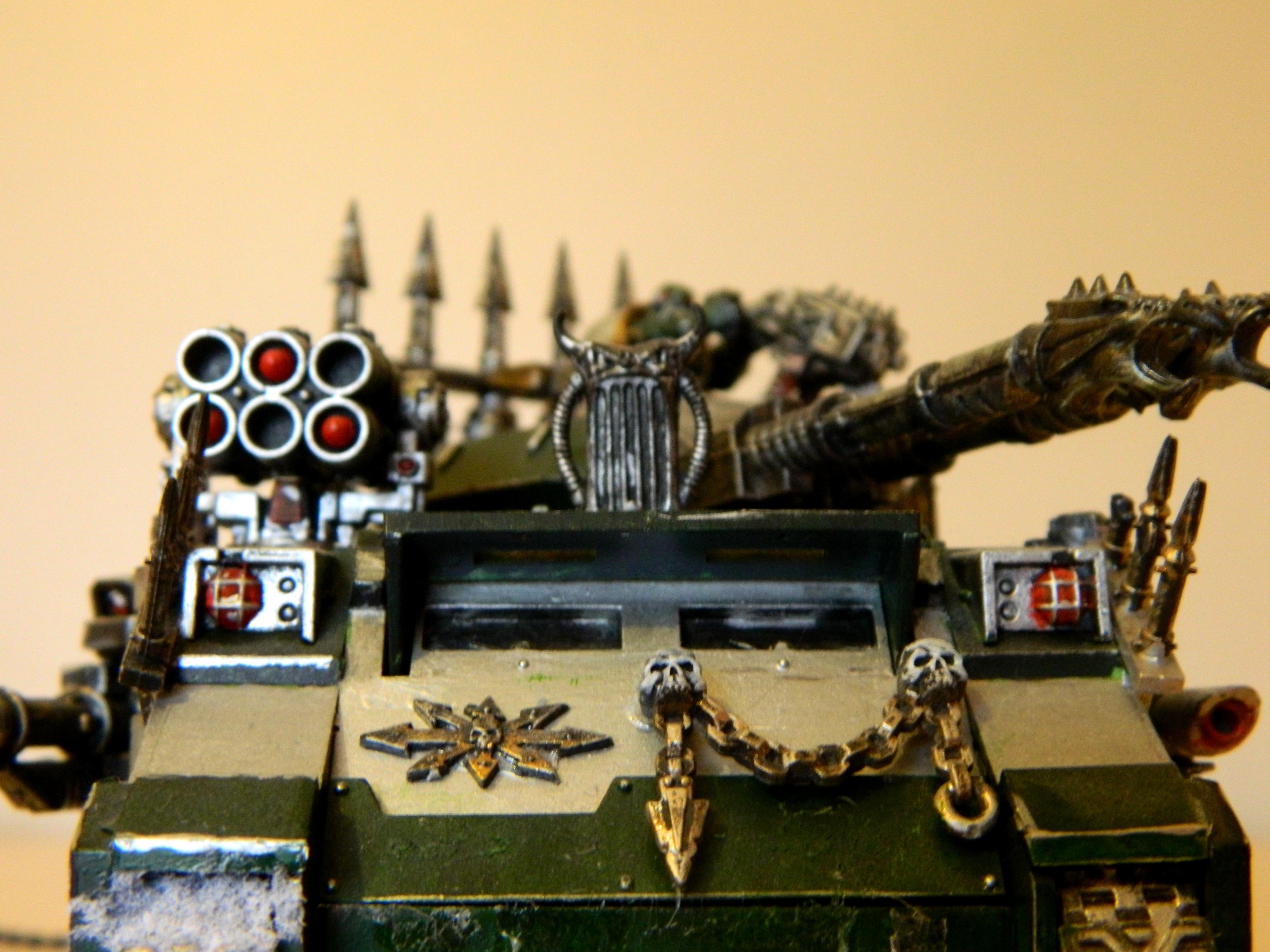 Alpha, Chaos, Chaos Space Marines, Green, Gun, Predator, Snow, Tank
