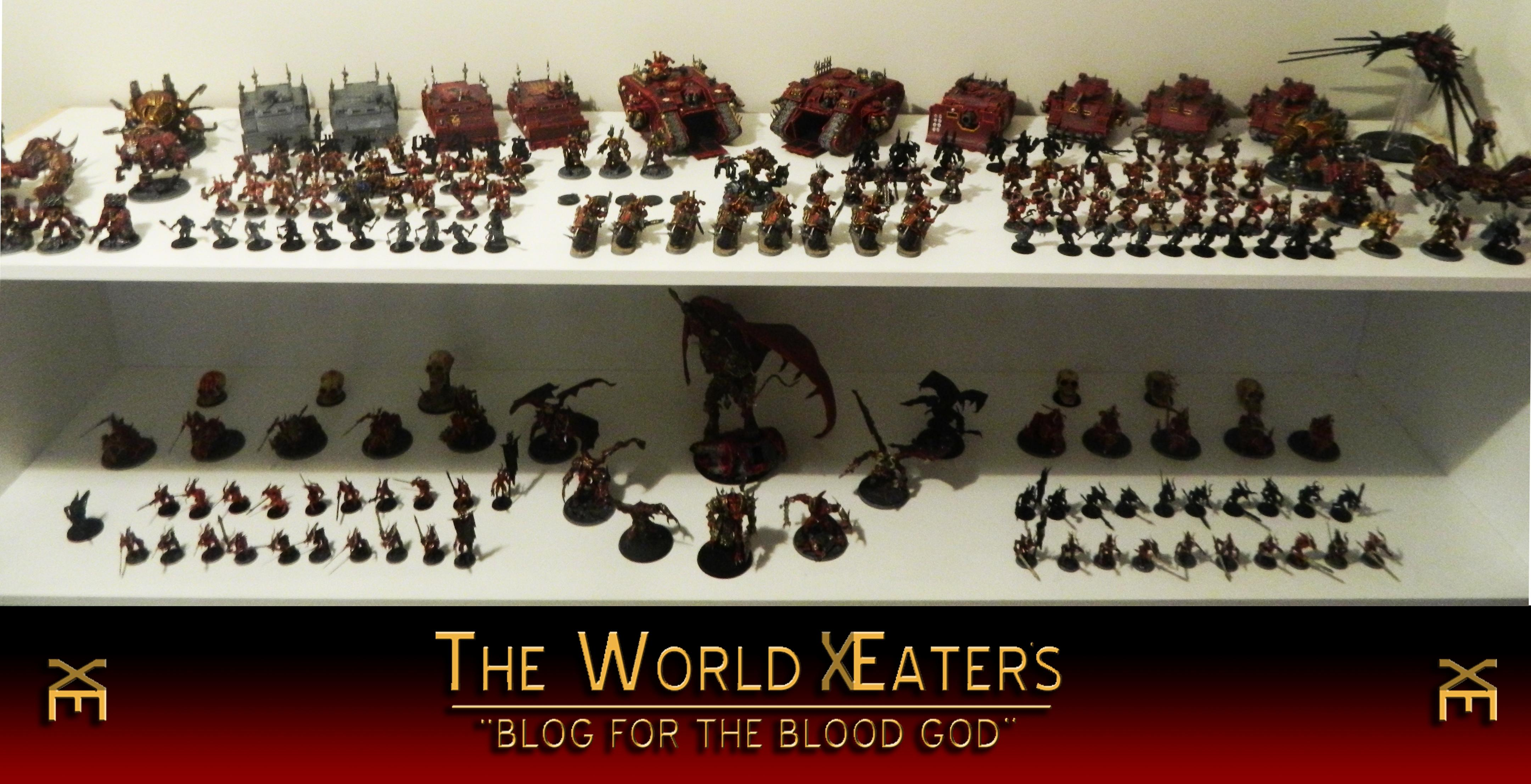 Anggrath, Angron, Army, Berserkers, Blood, Bloodcrushers, Bloodletters, Bloodthirster, Chaos, Chosen, Cultists, Daemon Prince, Daemons, Defiler, Forge World, Helbrute, Heldrake, Herald, Kharne, Khorne, Land Raider, Maulerfiend, Obliterators, Predator, Rhino, Skarbrand, Skull, Space Marines, Terminator Armor, Vindecator, World Eaters