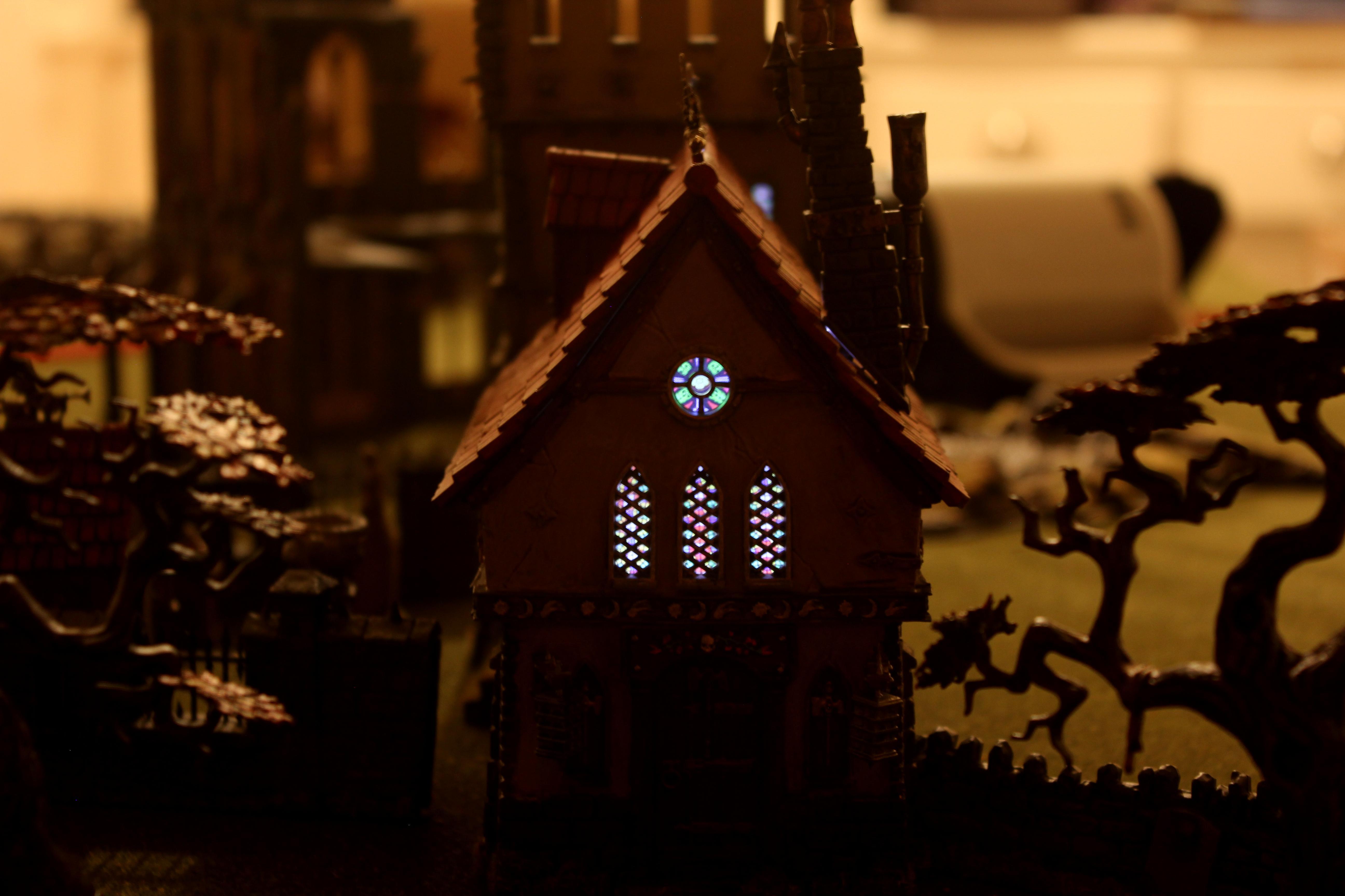 Church, Fortified Manor, Games Workshop, LED, Lights, Terrain, Warhammer Fantasy, Warhammer Terrain