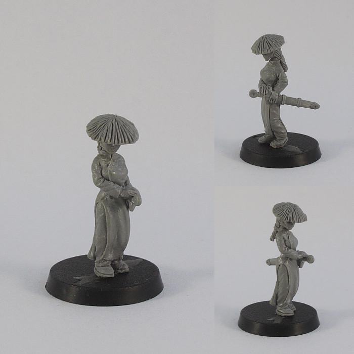 Ao Dai, Chinese, Dungeons And Dragons, Ex Manus, Female, Figurine, Girl, Green, Greenstuff, Human, Korean, Lady, Miniature, Oriental, Pendix, Pro-create, Roleplaying, Scratch Build, Sculpture, Straw Hat, Sword Sheath, Tabletop Game, Tabletop Games, Un-painted, Warriors, Woman