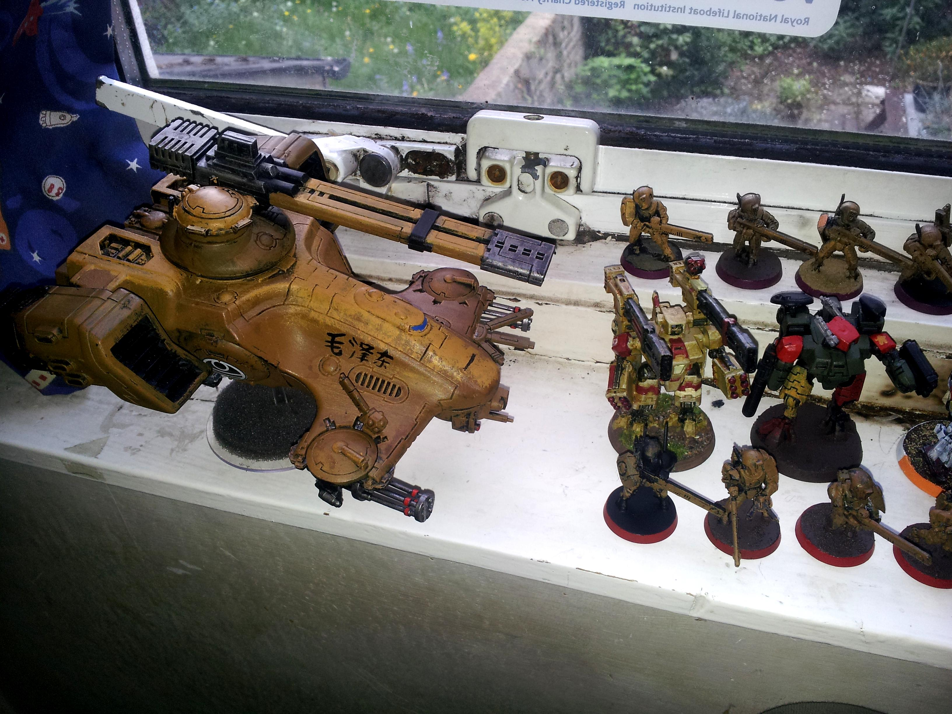 Battlesuit, Broadsides, China, Chinese, Communist, Desert, Fire Warriors, Guard, Hammerhead, Railgun, Rifle, Tau, Unfinished