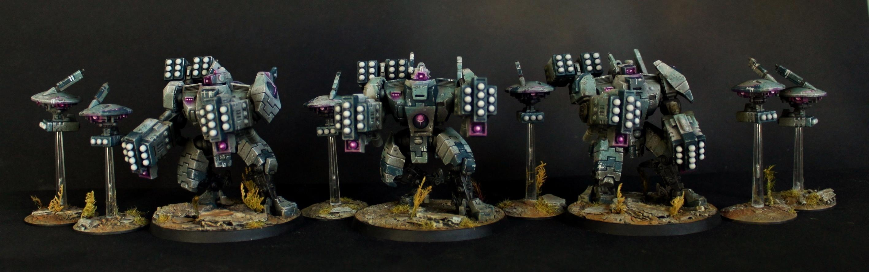 Broadsides, Drone, Object Source Lighting, Purple, Squad, Tau, Tau Broadside, Weathered