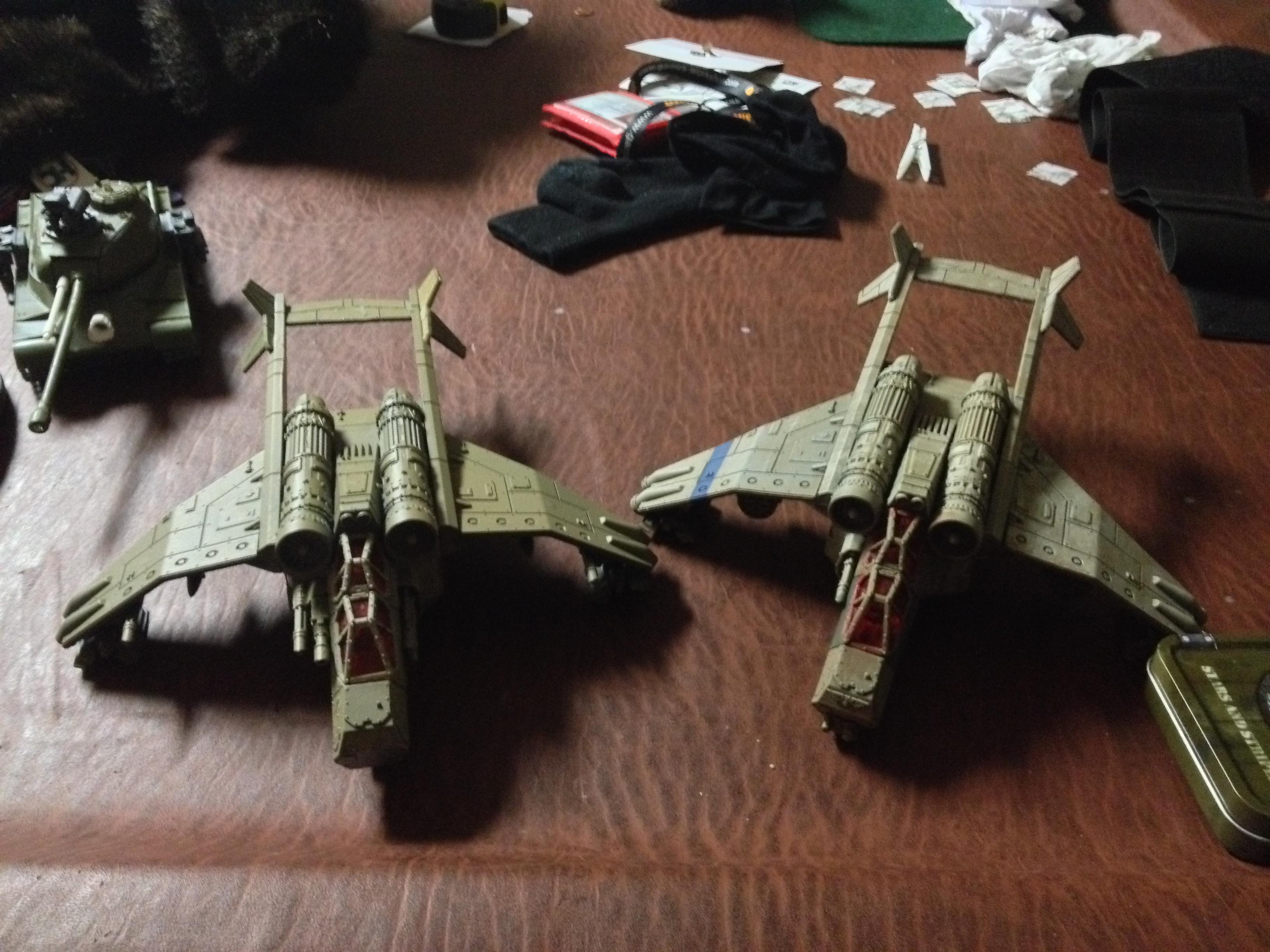Here's another picture of the (ch)air force!  The Vendetta (hardly painted) has a scratch built top tail fin on the right side