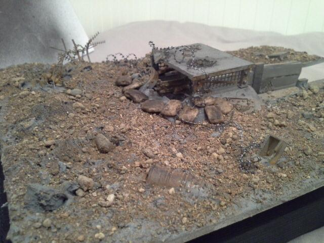 Barbed Wire, Bunker, Concrete, Damage, Death Korps of Krieg, Destroyrd, Dirt, Emplacement, Heavy Bolter, Imperial Guard, Mud, No Mans Land, Rust, Sand Bags, Scratch Build, Super Sculpy, Terrain, Trench, Wasteland, Wreckage