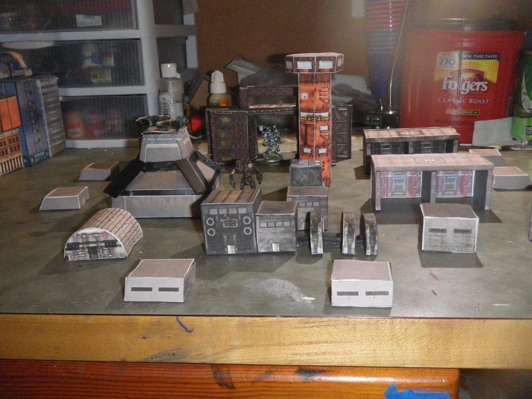 Beginning of a FoB bunker/vehicle repair bays/Mech bay, Flight Tower, Comm Tower, Power Generator