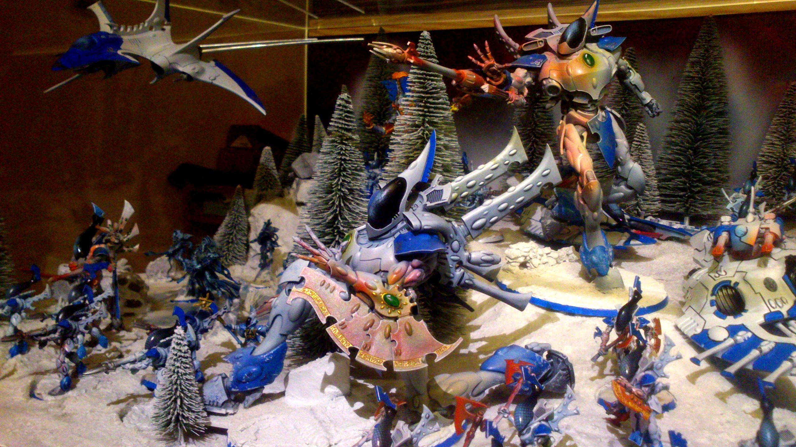 Army, Blue White, Diorama, Eldar, Eldar Wraith Army, Forest, Host, Iyanden, Iybraesil, Iybraezil, Snow, Spirit, Spirit Host, Spirit Only, Warhammer 40,000, Warhammer Fantasy, Winter, Wraith, Wraith Host, Wraith Only, Wraithguard, Wraithknight, Wraithknights