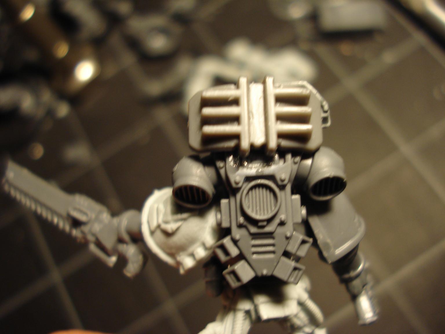 Bionics, Bolter, Iron Hands, Meltagun, Power Fist, Servo Arm, Space Marines, Squad, Techmarine