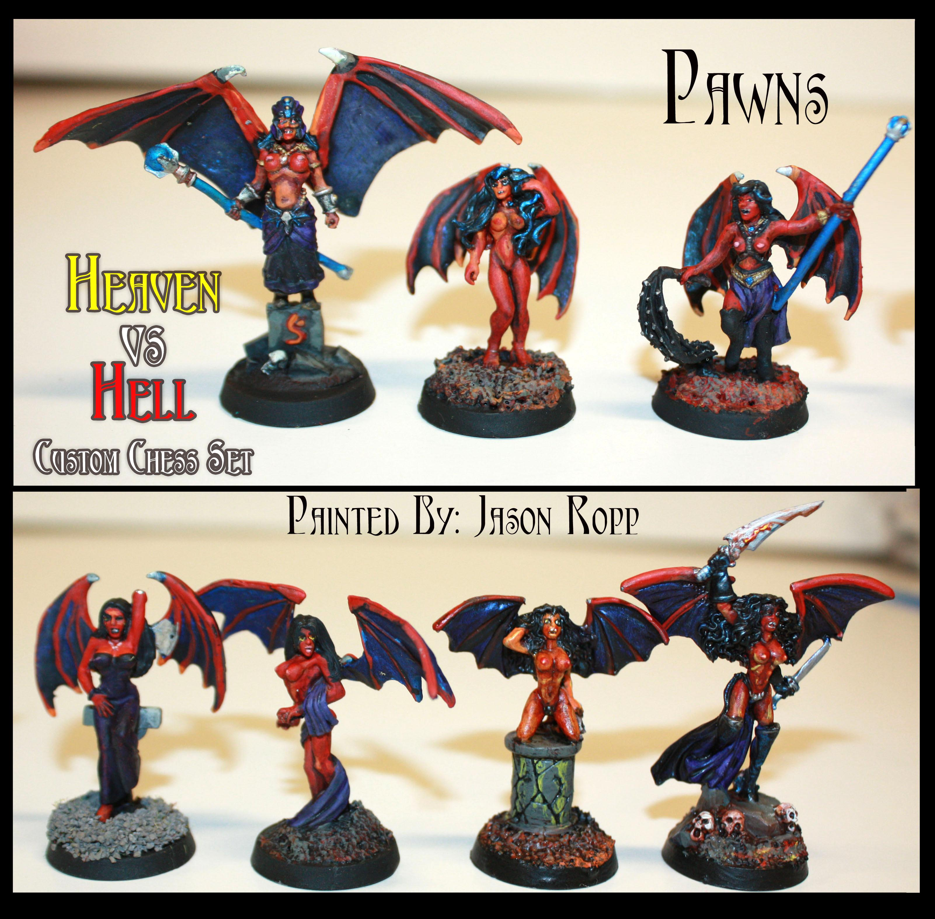 Angel, Chess, Custom, Daemons, Devils, Heaven, Hell, Miniatures, Nightmare Chess, Reaper, Set, Succubus, Succubus Pawns, Vs