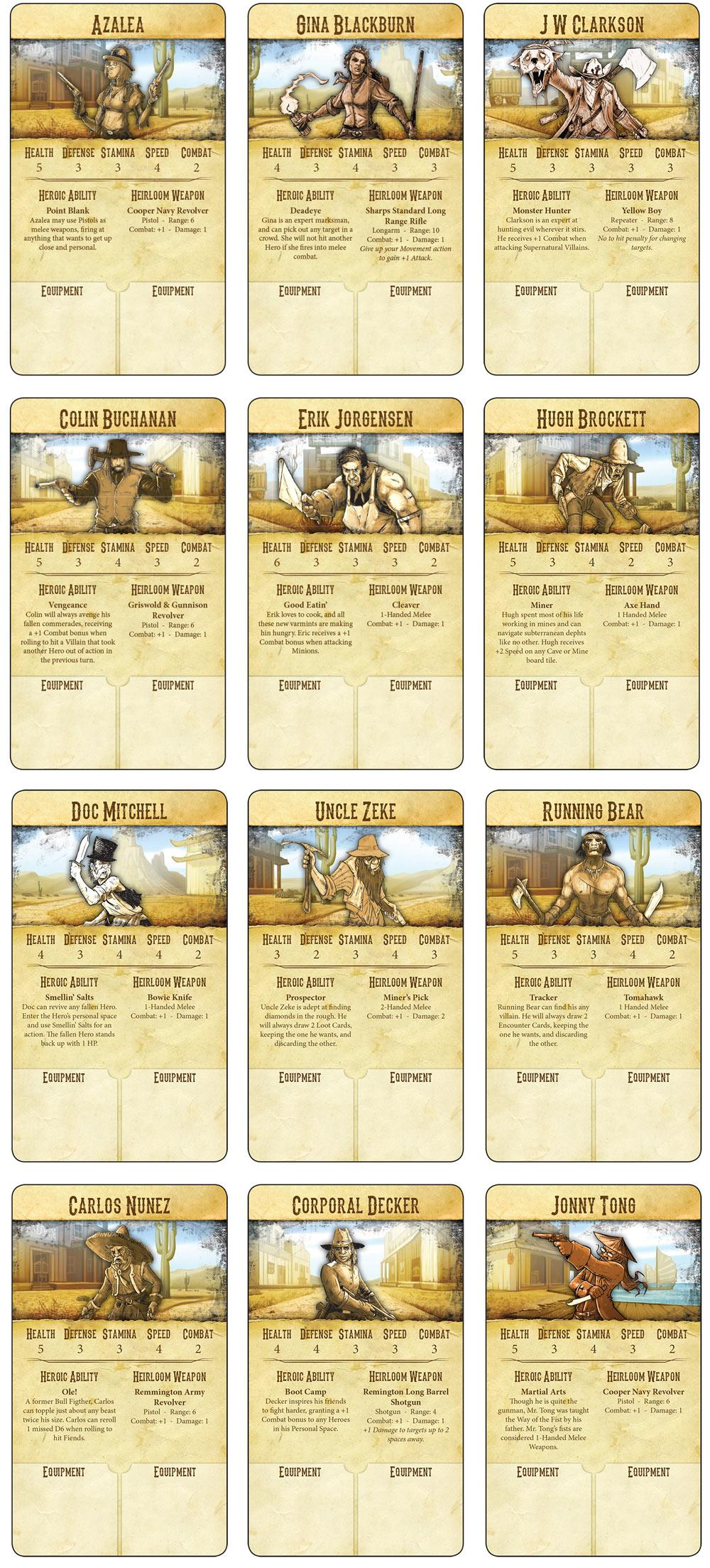 Bad Lands Hero Cards 1