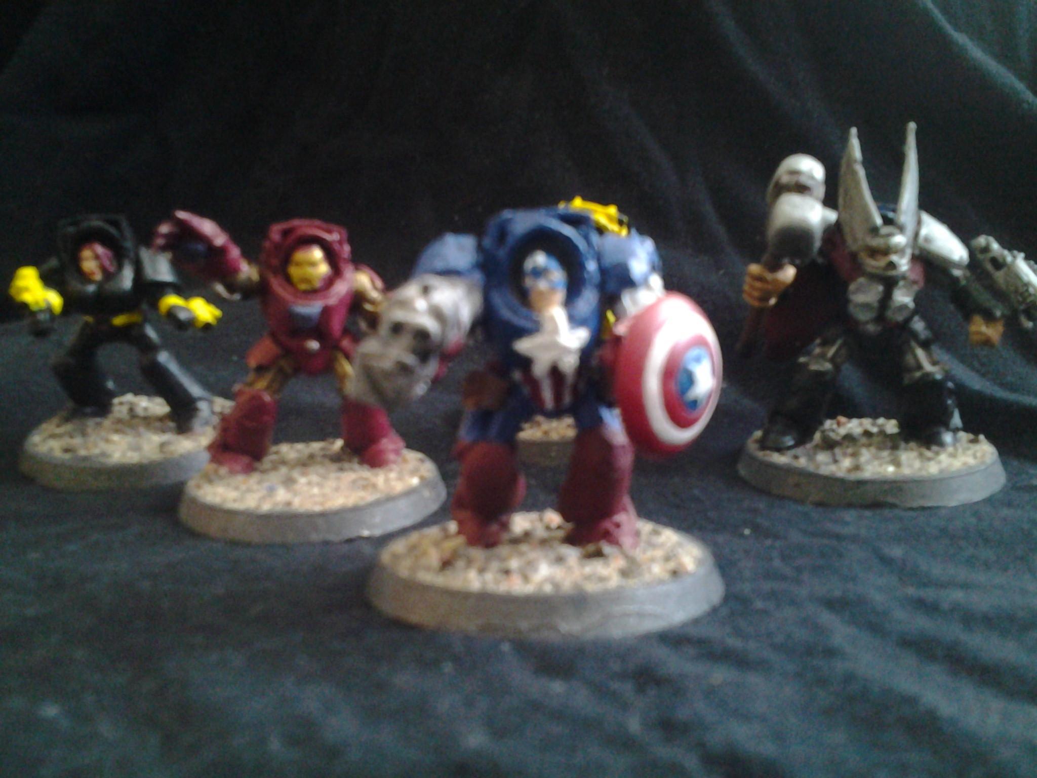 America, Avengers, Awesome, Black, Canadian, Captain, Conversion, Creative, Deadpool, Fun, Hammer, Iron, Man, Marvel, Space Marines, Superheros, Terminator Armor, Thor, Widow, Wolverine