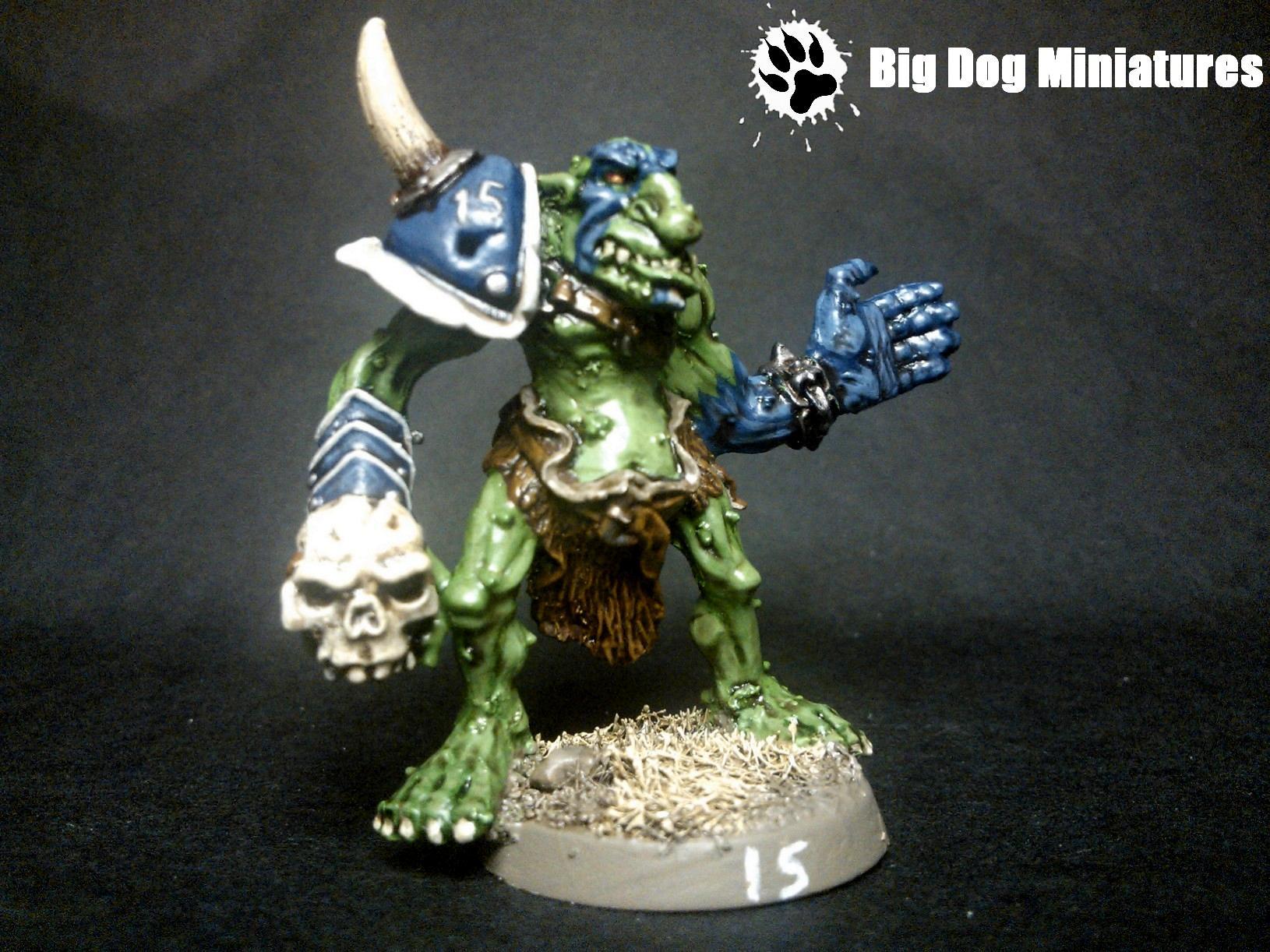 Big Dog Miniatures, Blood, Bowl, Cheerleader, Goblins, Skull, Troll, War Paint