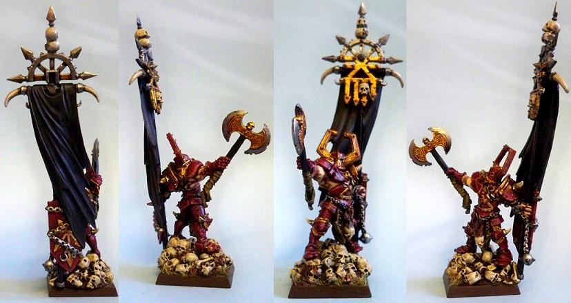 Chaos, Chaos Warrior, Conversion, Exalted Hero, Khornate, Khorne, Kitbash, Lord, Standard Bearer, Warhammer Fantasy, Warriors Of Chaos, Woc