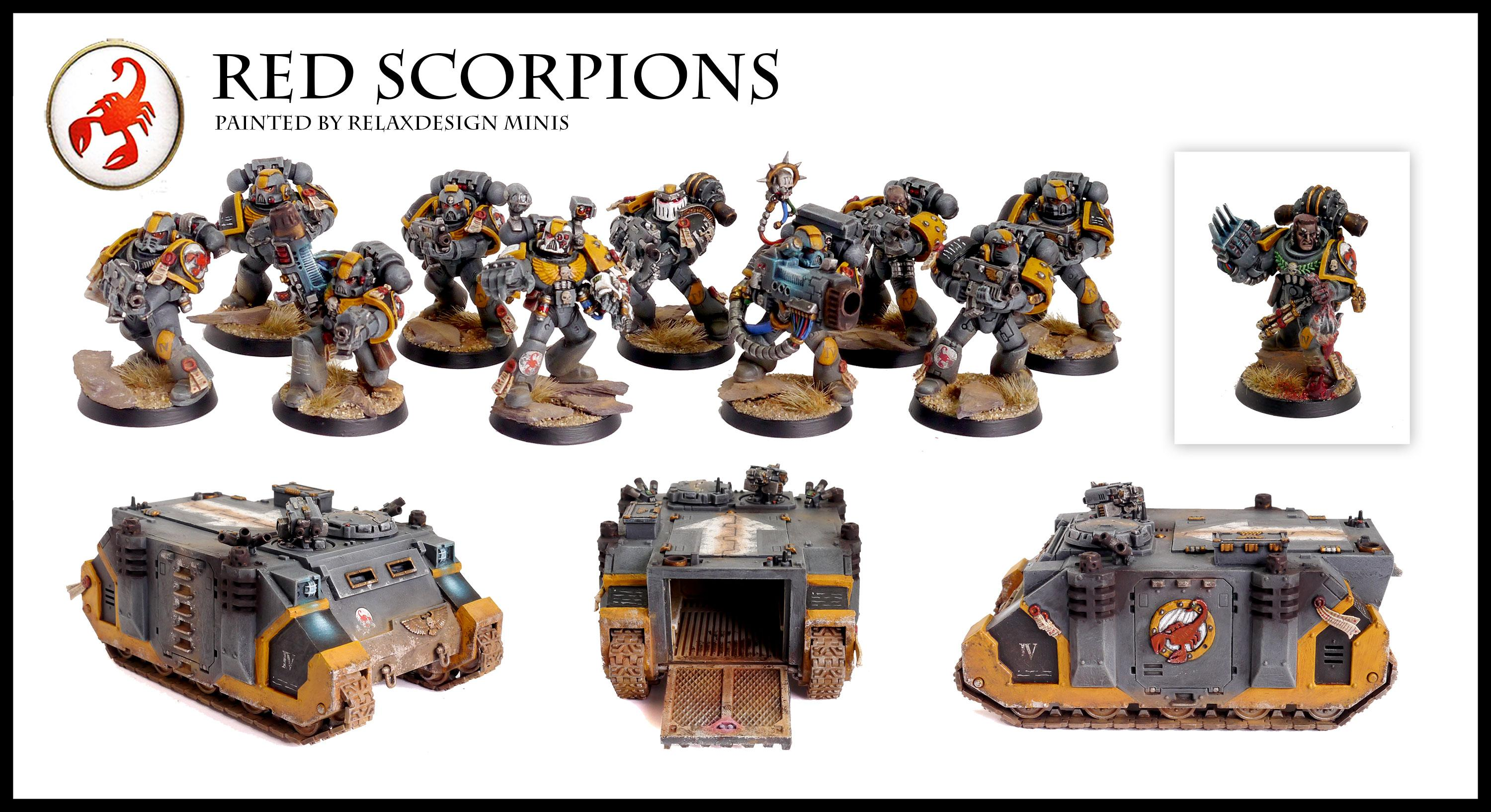 Apothecary, Forge World, Games Workshop, Red Scorpions, Rhino, Space Marines, Tactical Squad, Warhammer 40,000, Warhammer Fantasy