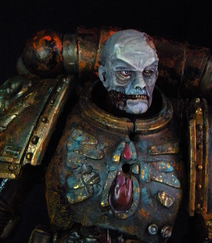 54mm, Blue, Chaos, Detail, Fallen, Scratch Build, Space Marines, Torn Face, Warhammer 40,000