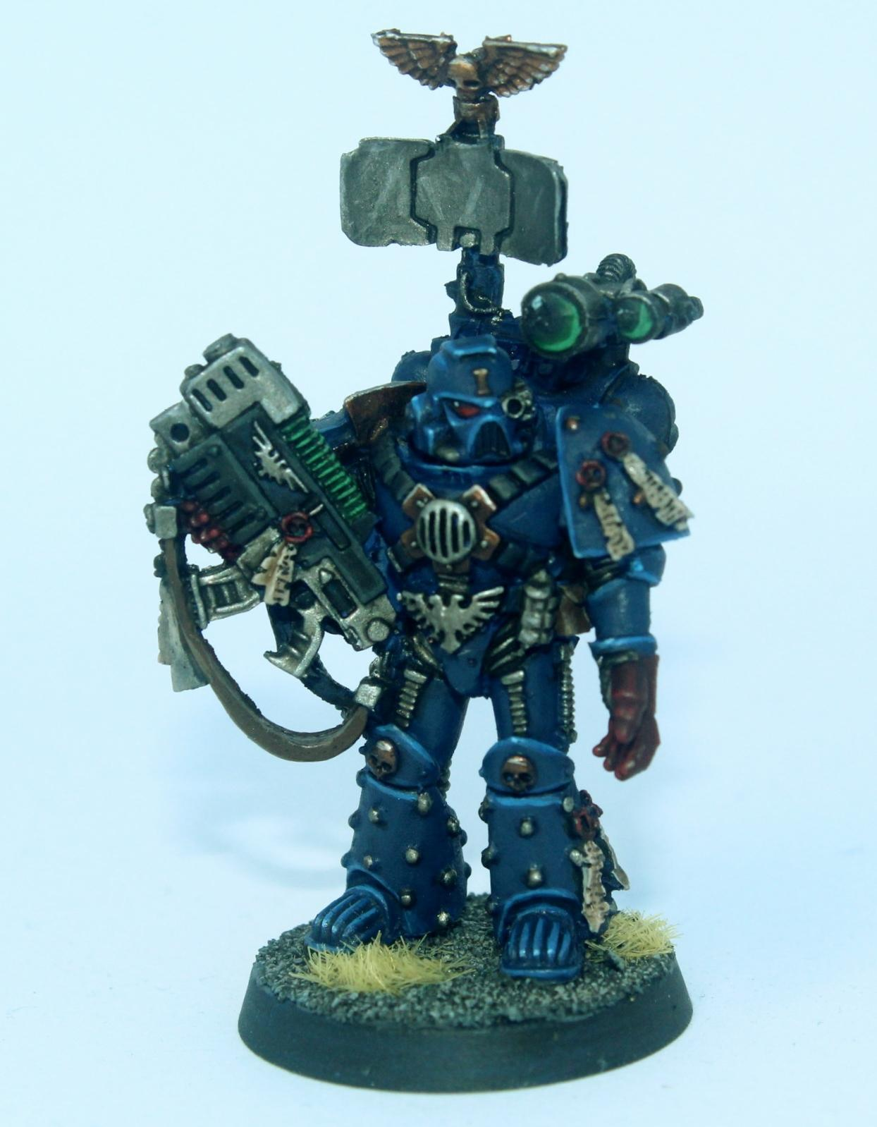 Bionic Eye, Blue, Combi Weapon, Conversion, Crimson Fists, Scanner Backpack, Space Marines, Warhammer 40,000