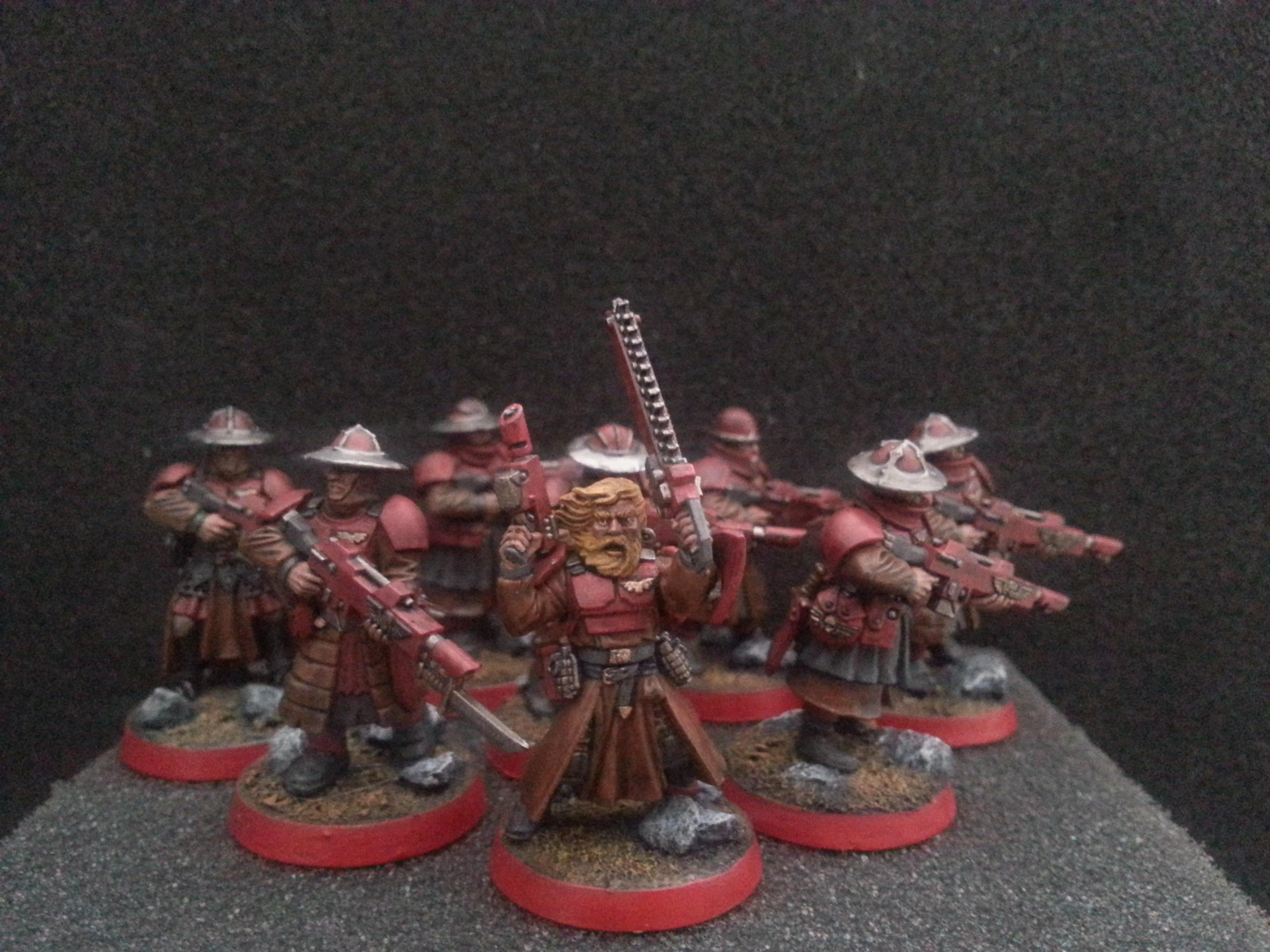 A nearly complete squad of Crimson Cavaliers, the special weapons guardsman is having his arms magnatized and will join them later