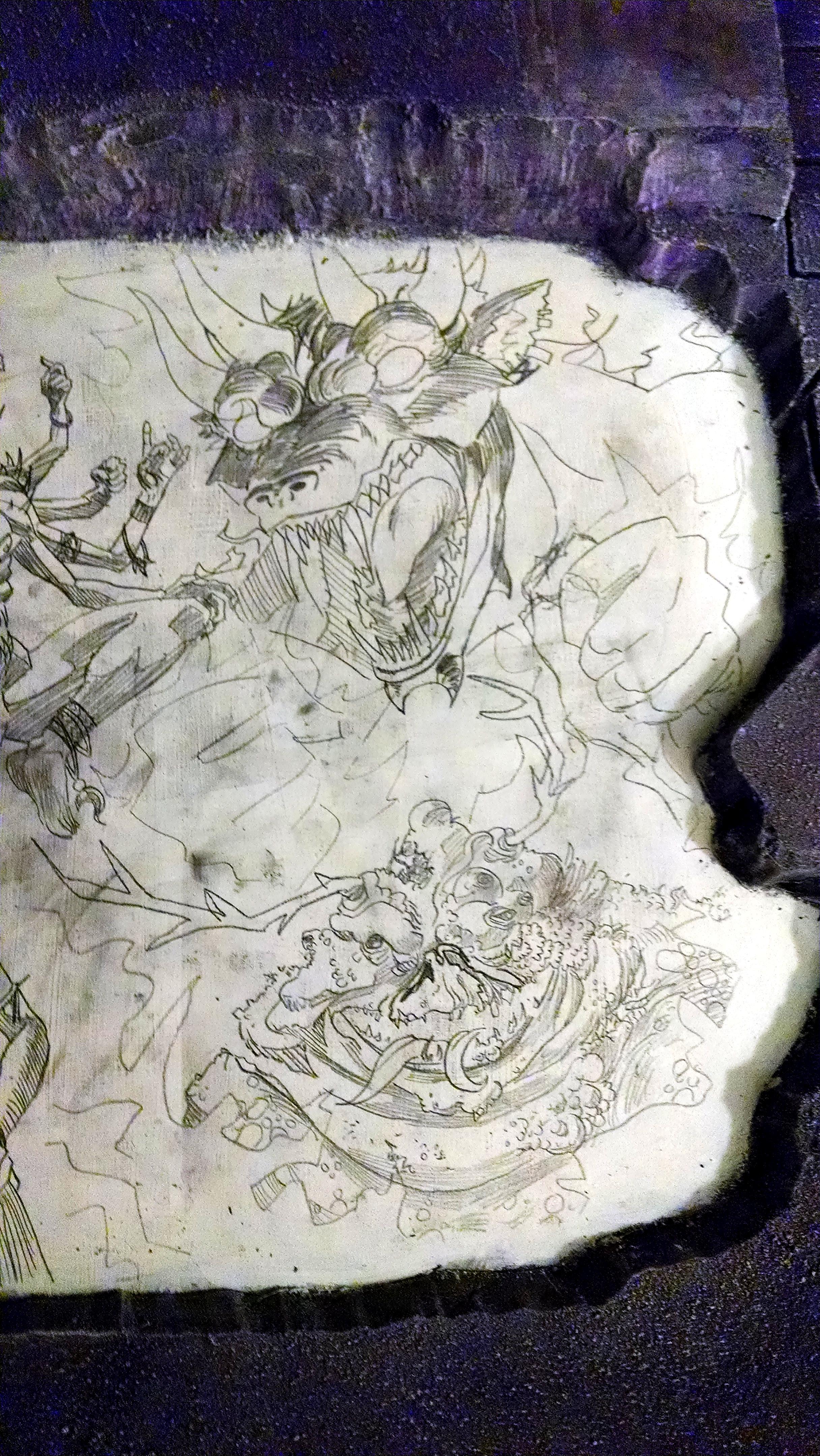 Chaos, Chaos Warrior, Daemons, Display Board, Freehand, Illustration, Khorne, Nurgle, Slaanesh, Tzeentch