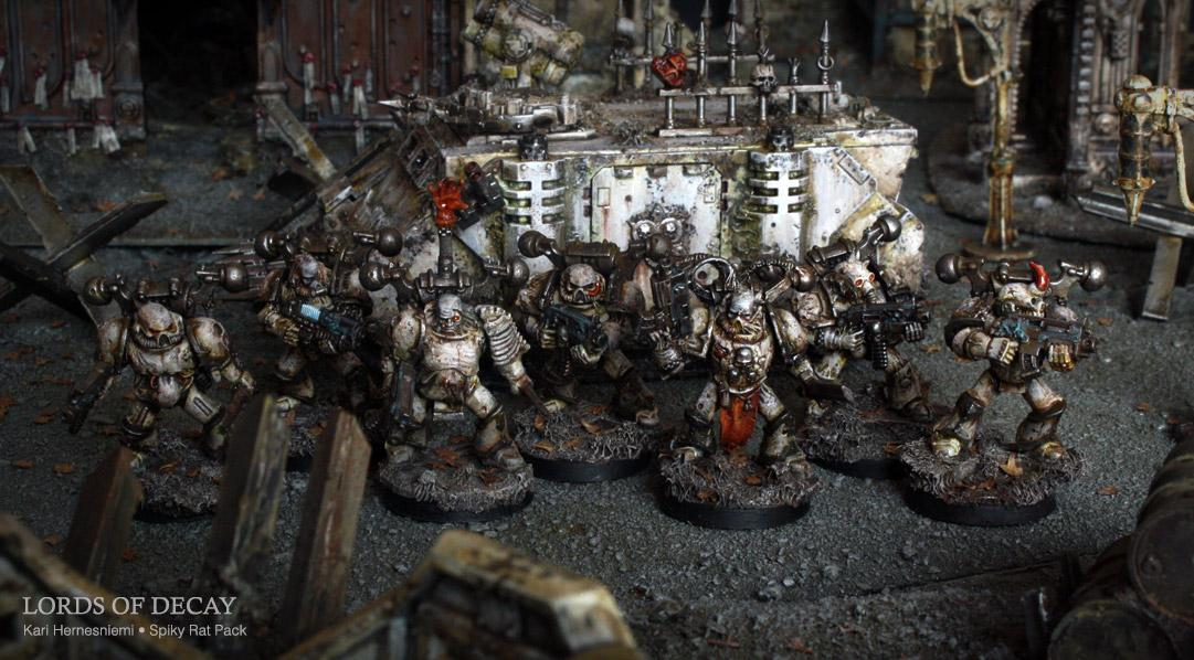 Chaos Space Marines, Lords Of Decay, Nurgle, Plague Marines, Spiky Rat Pack, Warhammer 40,000