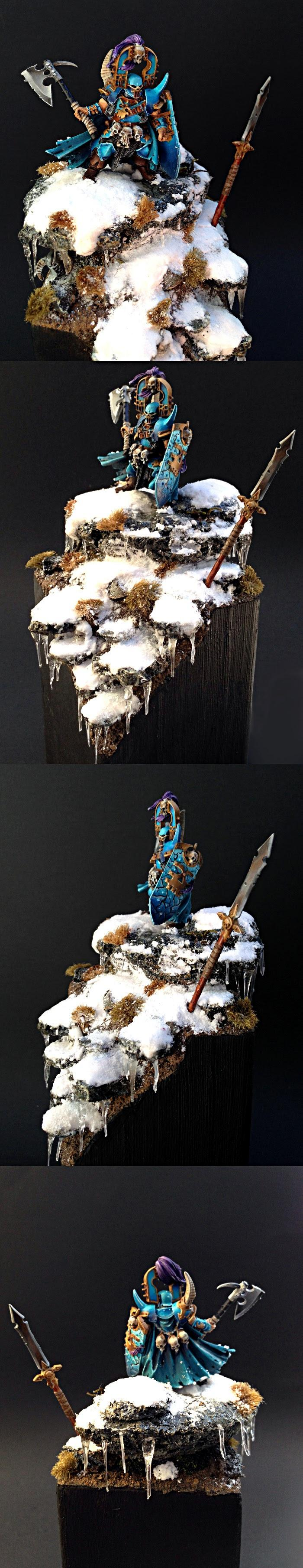 Blue, Chaos, Chaos Lord, Display, Freehand, Frozen, Khorne, Non-Metallic Metal, Snow