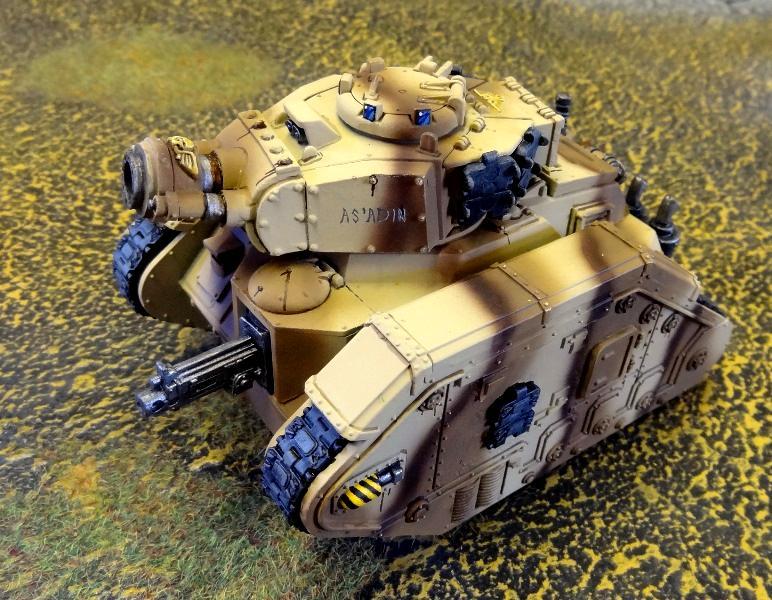 Airbrush, Armor, Astra Militarum, Brown, Camouflage, Demolisher, Desert, Heavy Bolter, Heavy Support, Imperial Guard, Leman Russ, Leman Russ Demolisher, Striped, Tallarn Desert Raiders, Tank, Tiger Striped