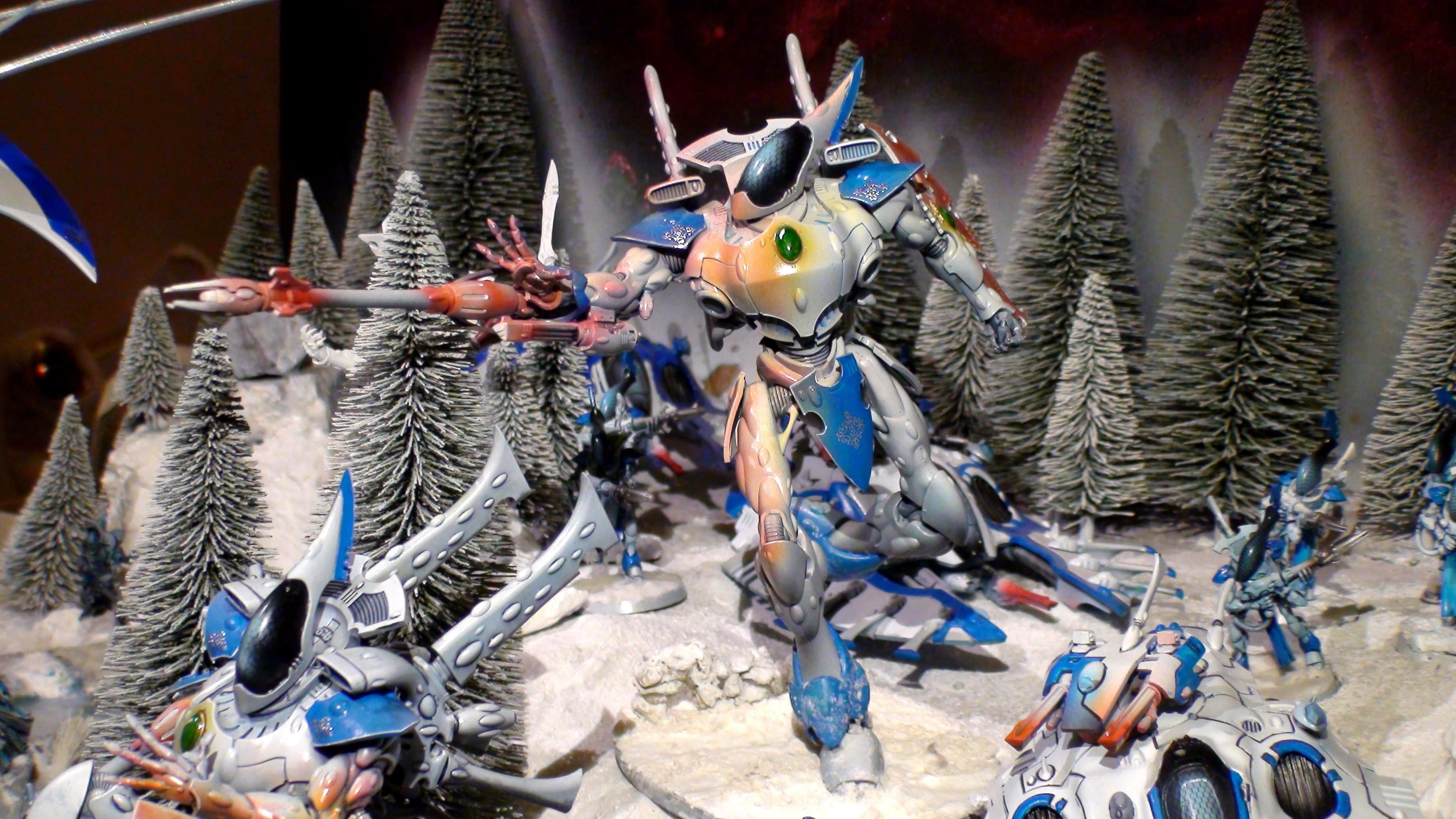 Army, Blue White, Diorama, Eldar, Eldar Wraith Army, Force, Forest, Forge World, Ghost, Host, Ilyrith, Iyanden, Iybraesil, Iybraezil, Phoenix Lord, Shadow, Snow, Spectres, Spirit, Spirit Host, Spirit Only, Warhammer 40,000, Warhammer Fantasy, Waveserpent, Winter, Wraith, Wraith Host, Wraith Only, Wraithguard, Wraithknight, Wraithknights, Wraithlord