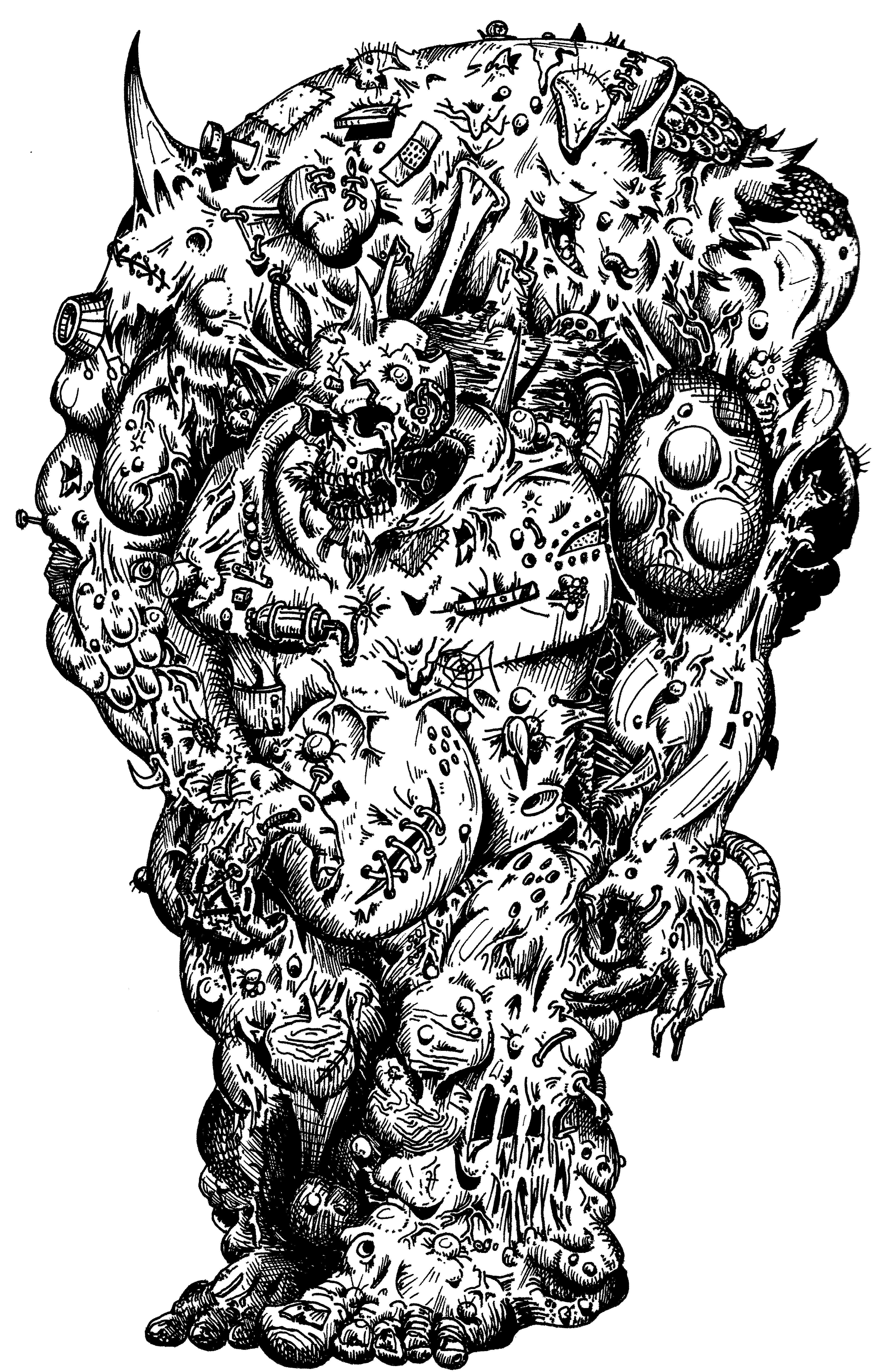 Artwork, Daemons, Drawing, Great Unclean One, Nurgle, Old, School, Style