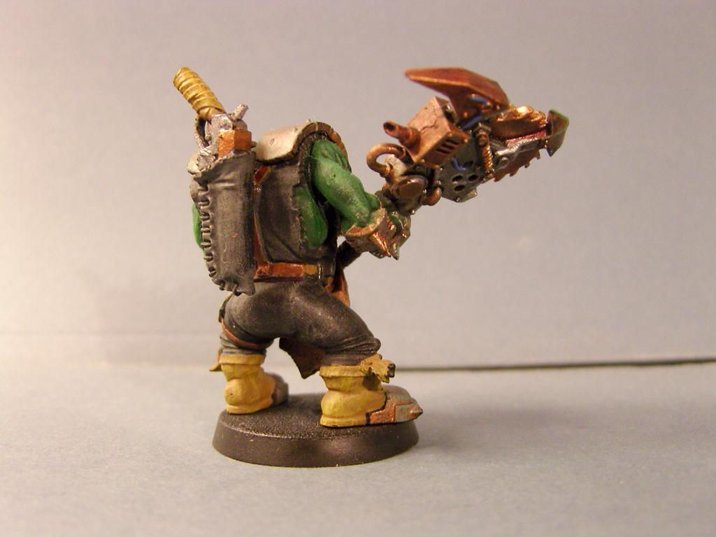 Bad Moons, Bad Moonz, Copper, Drybrush, Edge Highlight, Metal, Nob, Orks, Rust, Rusted, Saw, Two Handed, Weathered, Wire, Yellow, Yellow Leather