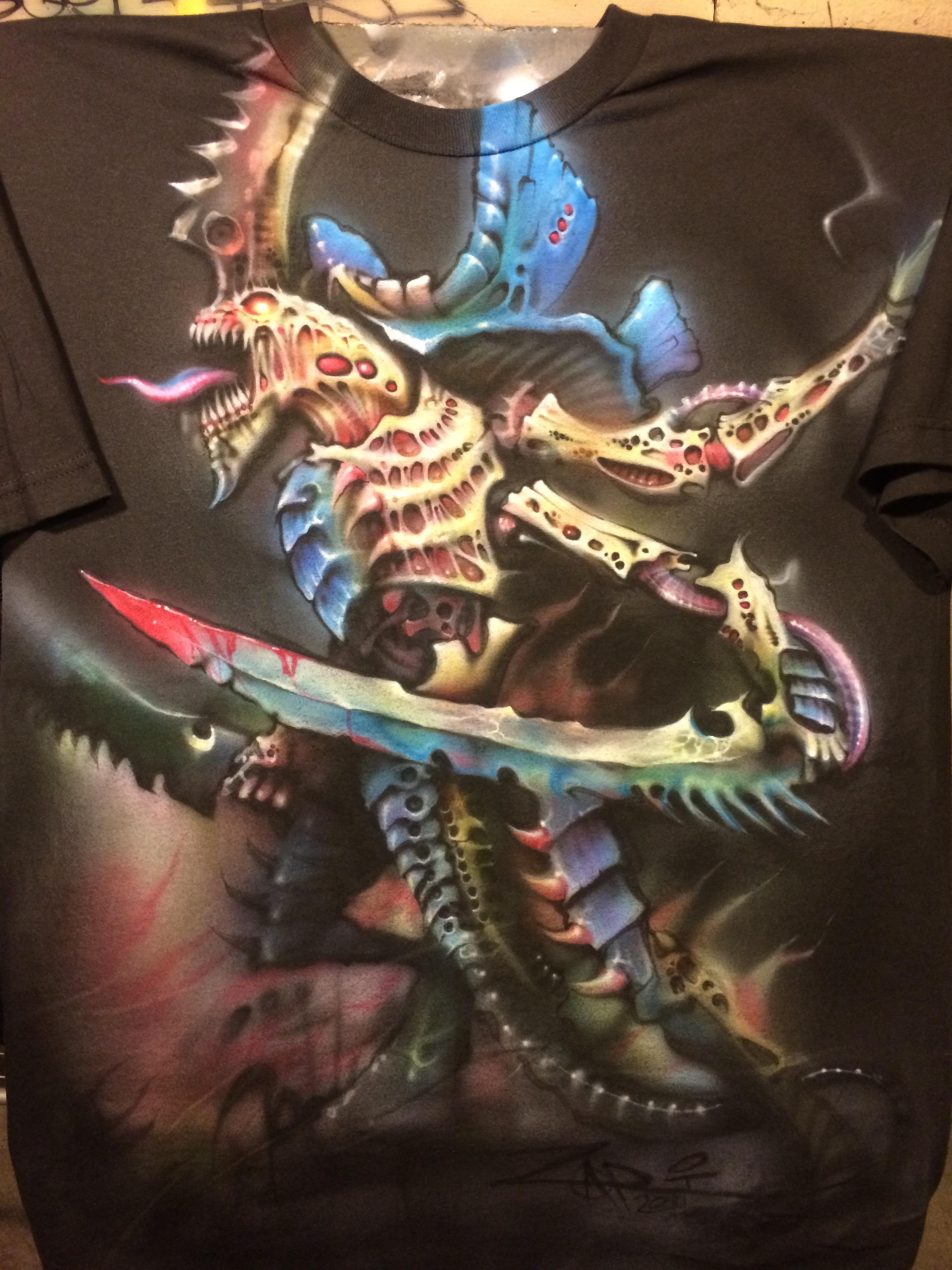 Airbrushed, Hive, Swarm Lord, T Shirt, Tyranids, Warhammer 40,000