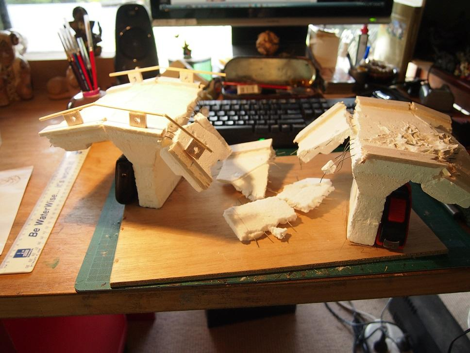 Bridge, Mekugi, Scratch Build, Styrofoam, Terrain, Warhammer 40,000, Work In Progress