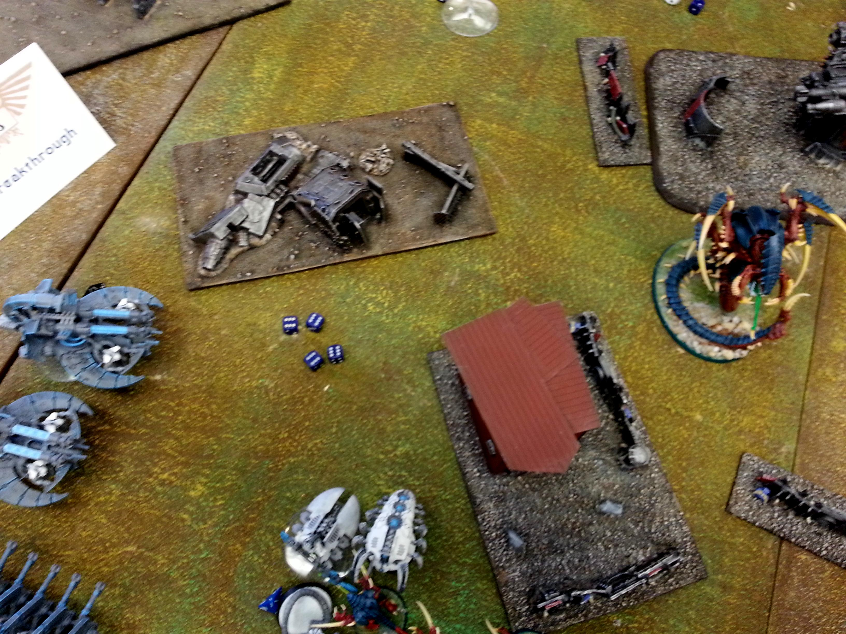 Necrons, Tyranids, Turn 3a Necrons: AnniBarge 12 hits on 4 dice vs Trygon