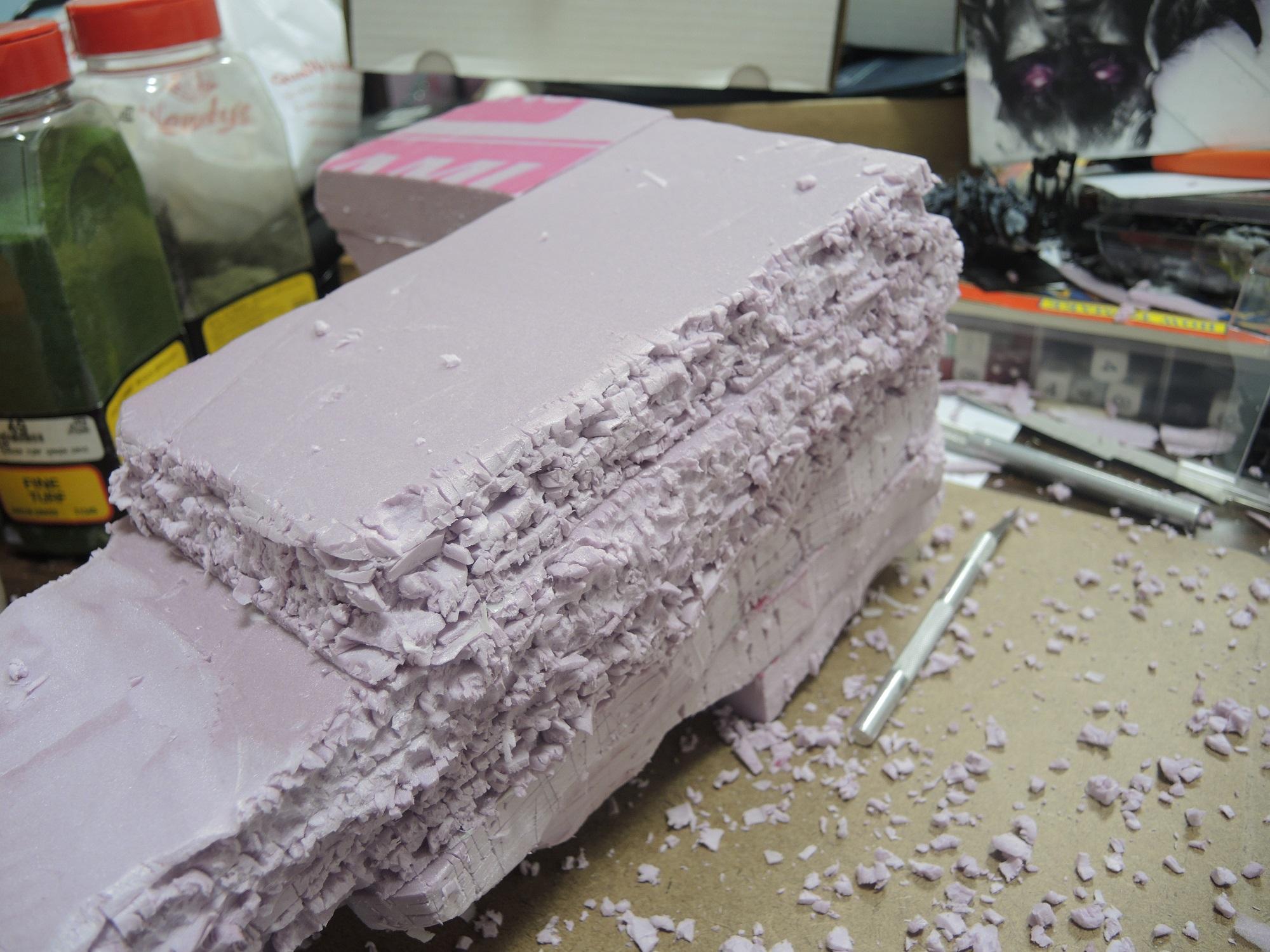 Blue, Commission, Hot Glue, Hotglue, Mesa, Pink, Styrofoam, Terrain, Tutorial, Waaazag, Waazag, Work In Progress