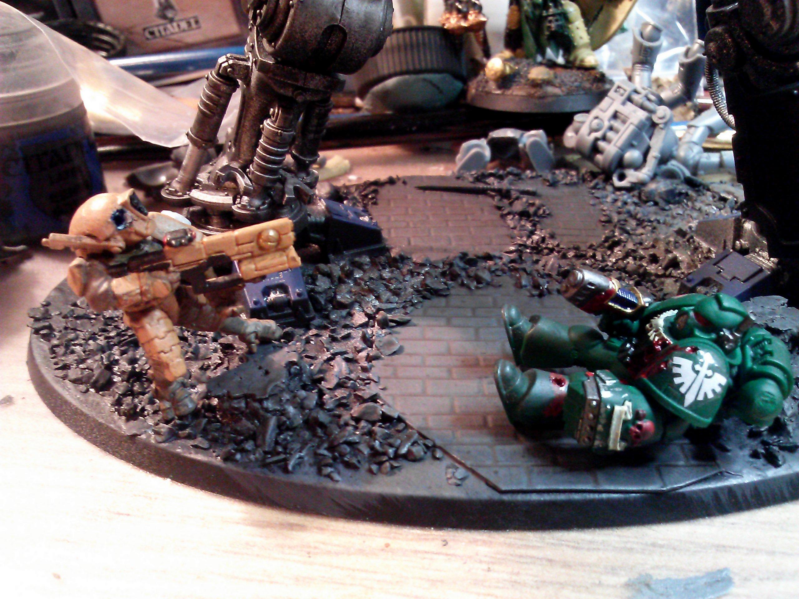 Base, Dark_angels, Headshot, Imperial_knight, Space_marine, Tau, Work In Progress, Wounded