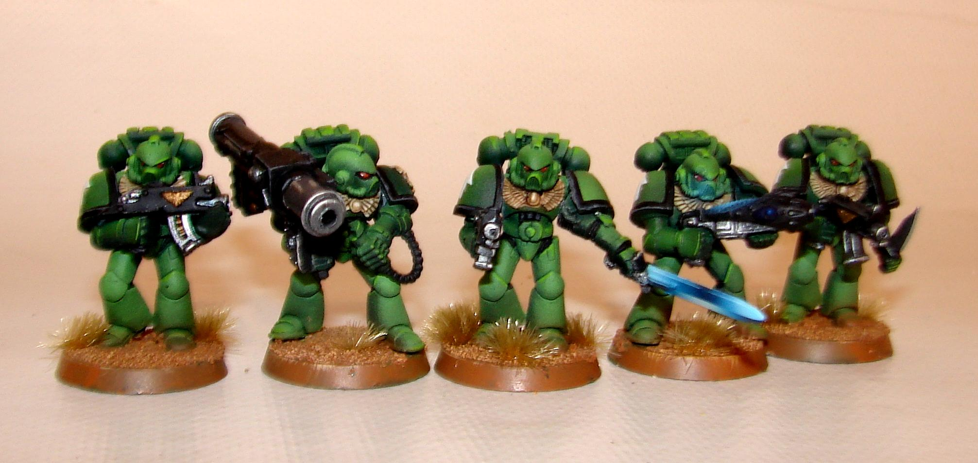 Aurora Marines, Green Marines, Object Source Lighting, Power Sword, Salamanders, Sons Of Medusa, Space Marines, Warhammer 40,000, Warhammer Fantasy