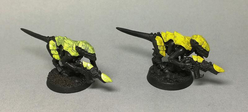Acrylic gouache yellow layer 1