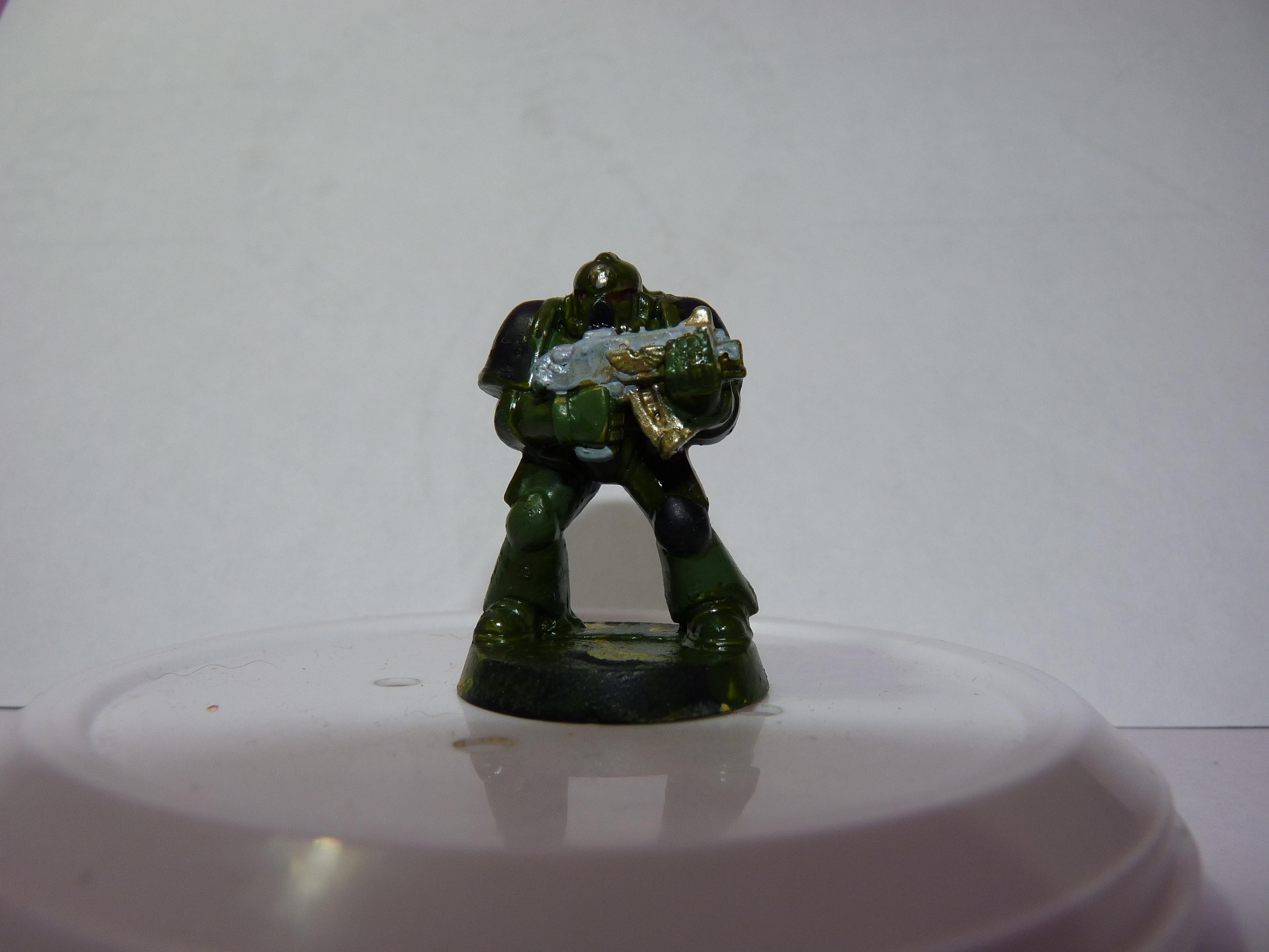 First Try, Models, Poorly Done, Salamanders, Space Marines, Tactical Squad, Thin Your Paints