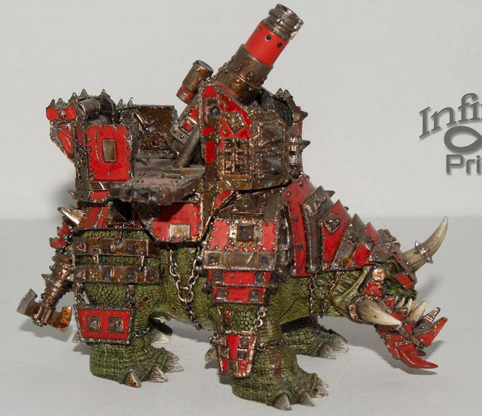 Armor, Armored, Beast, Cannon, Forge World, Mount, Orks, Red, Squiggoth, Vehicle, War, Warhammer 40,000