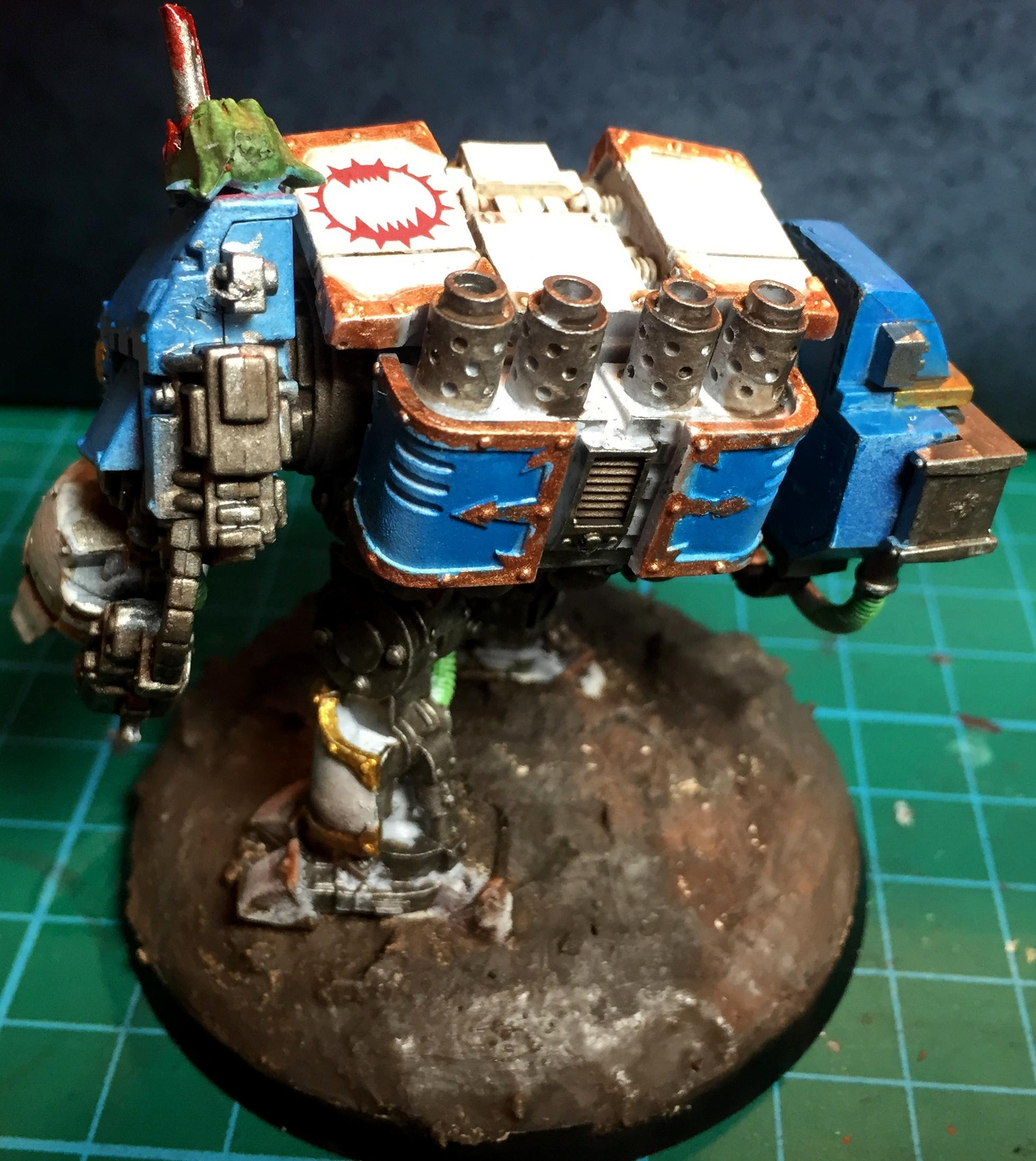 Assault Cannon, Blood, Blue, Dreadnought, Forge World, Powerfist Ork Head, We, White