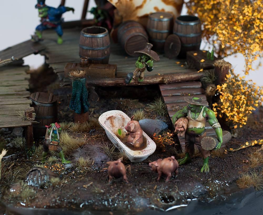 Diorama, Farm, Gremlins, Malifaux, Orks