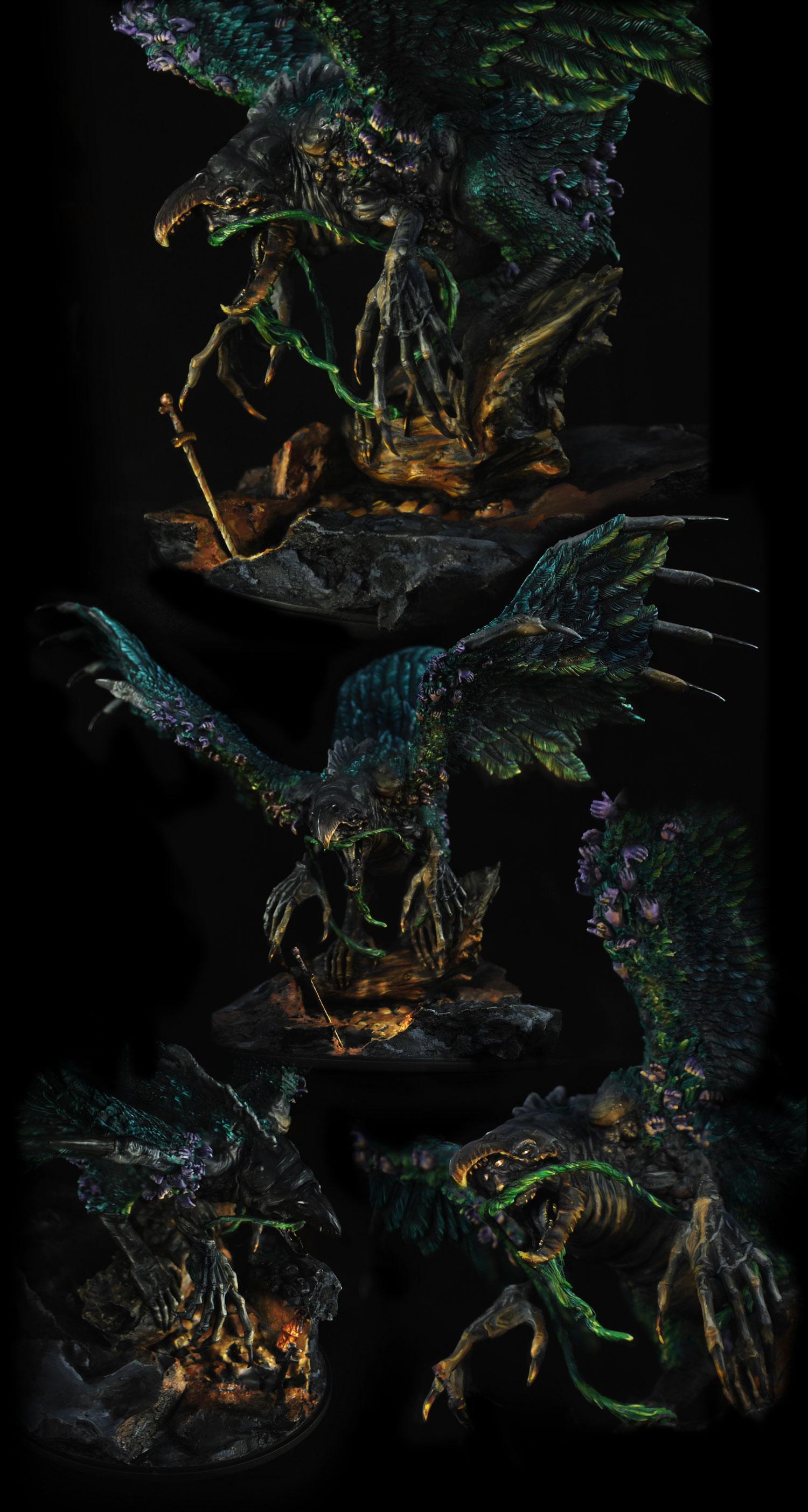 Bird, Competition, Display, Kingdom Death, Monster, Non-Metallic Metal, Object Source Lighting, Phoenix, Teal